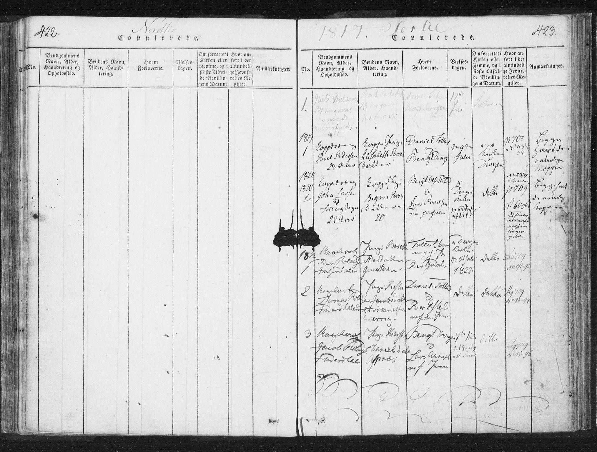 SAT, Ministerialprotokoller, klokkerbøker og fødselsregistre - Nord-Trøndelag, 755/L0491: Ministerialbok nr. 755A01 /2, 1817-1864, s. 422-423
