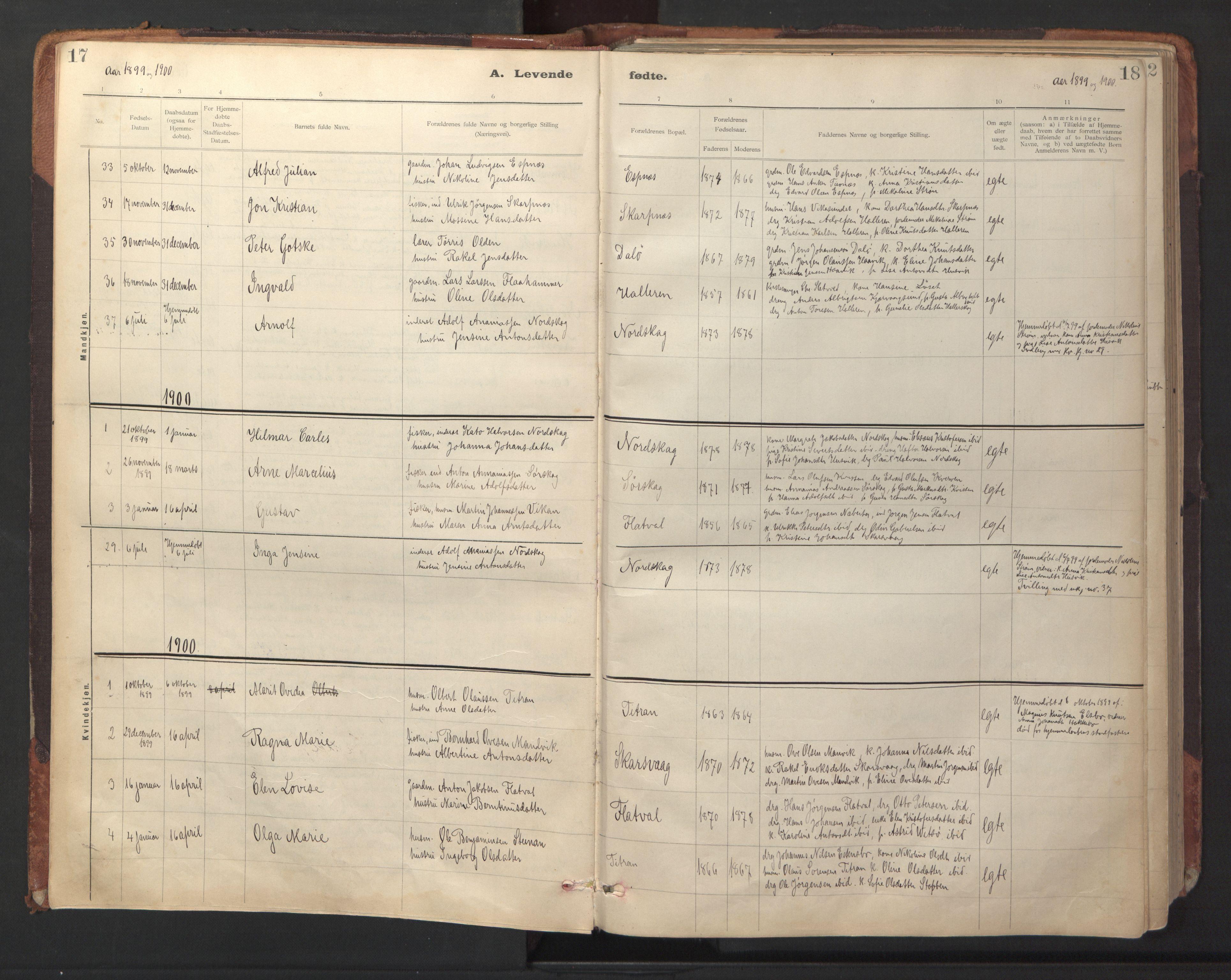 SAT, Ministerialprotokoller, klokkerbøker og fødselsregistre - Sør-Trøndelag, 641/L0596: Ministerialbok nr. 641A02, 1898-1915, s. 17-18