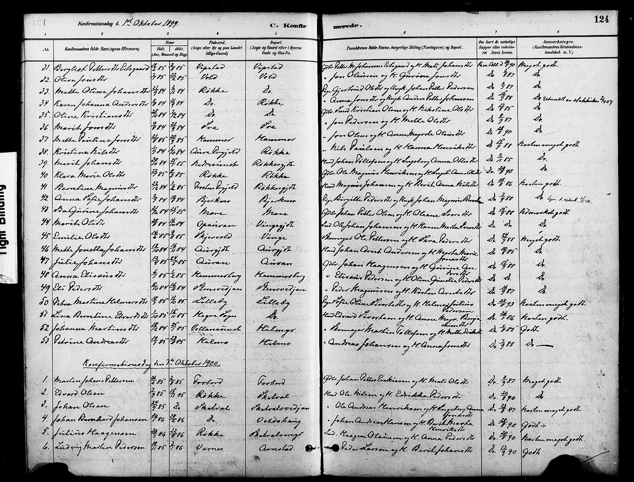 SAT, Ministerialprotokoller, klokkerbøker og fødselsregistre - Nord-Trøndelag, 712/L0100: Ministerialbok nr. 712A01, 1880-1900, s. 124