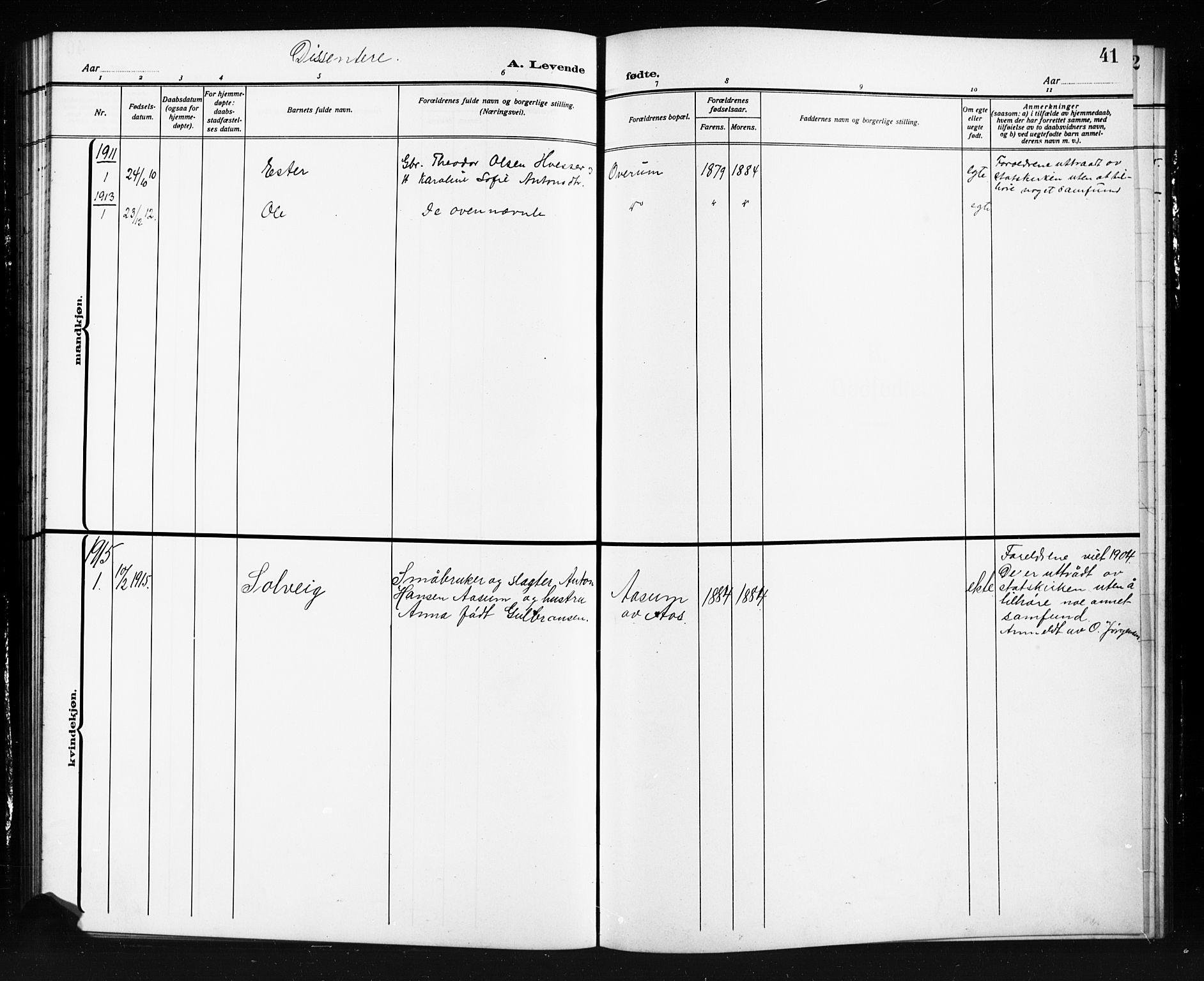 SAO, Trøgstad prestekontor Kirkebøker, G/Gb/L0001: Klokkerbok nr. II 1, 1911-1925, s. 41