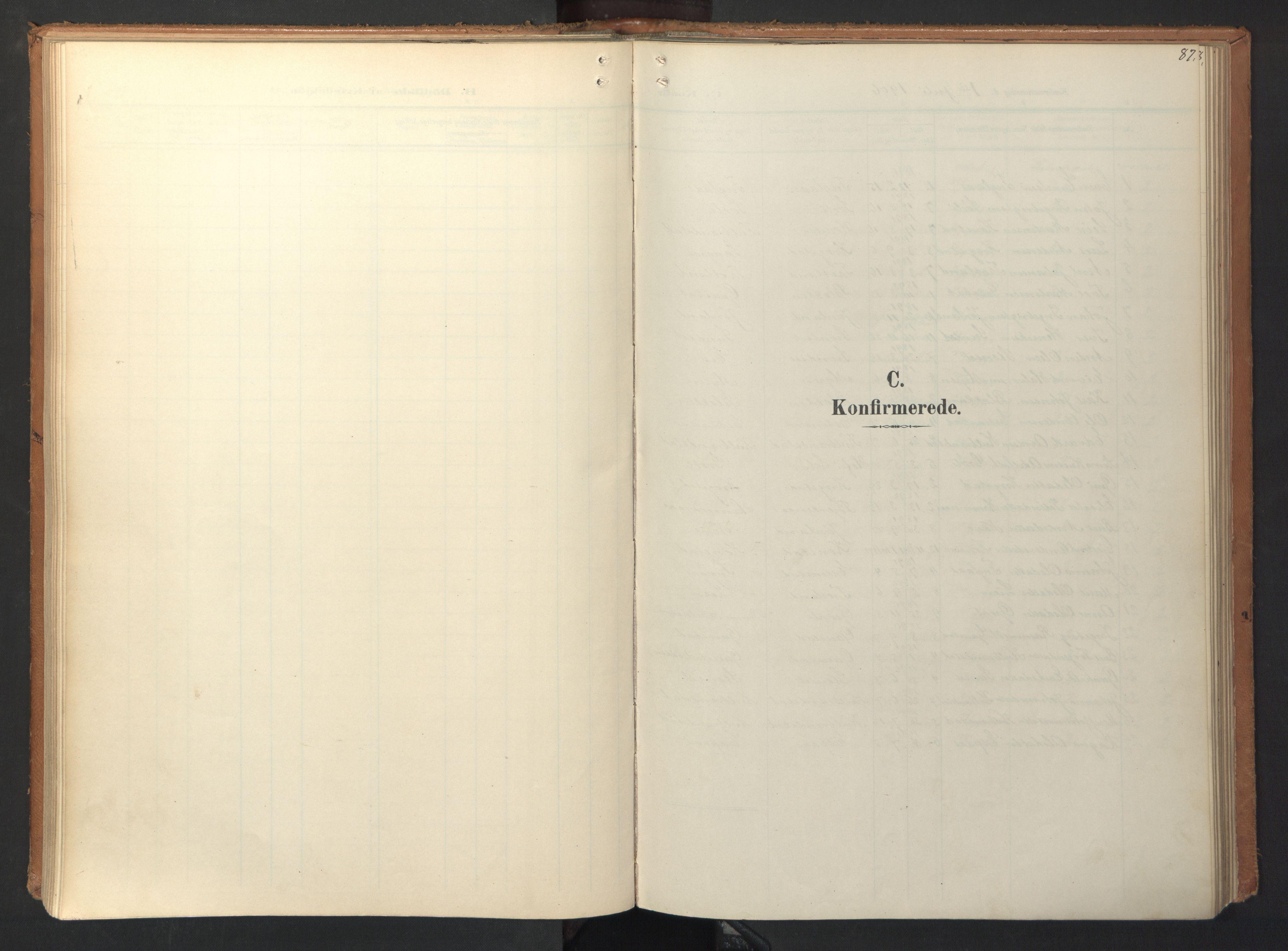 SAT, Ministerialprotokoller, klokkerbøker og fødselsregistre - Sør-Trøndelag, 694/L1128: Ministerialbok nr. 694A02, 1906-1931, s. 87