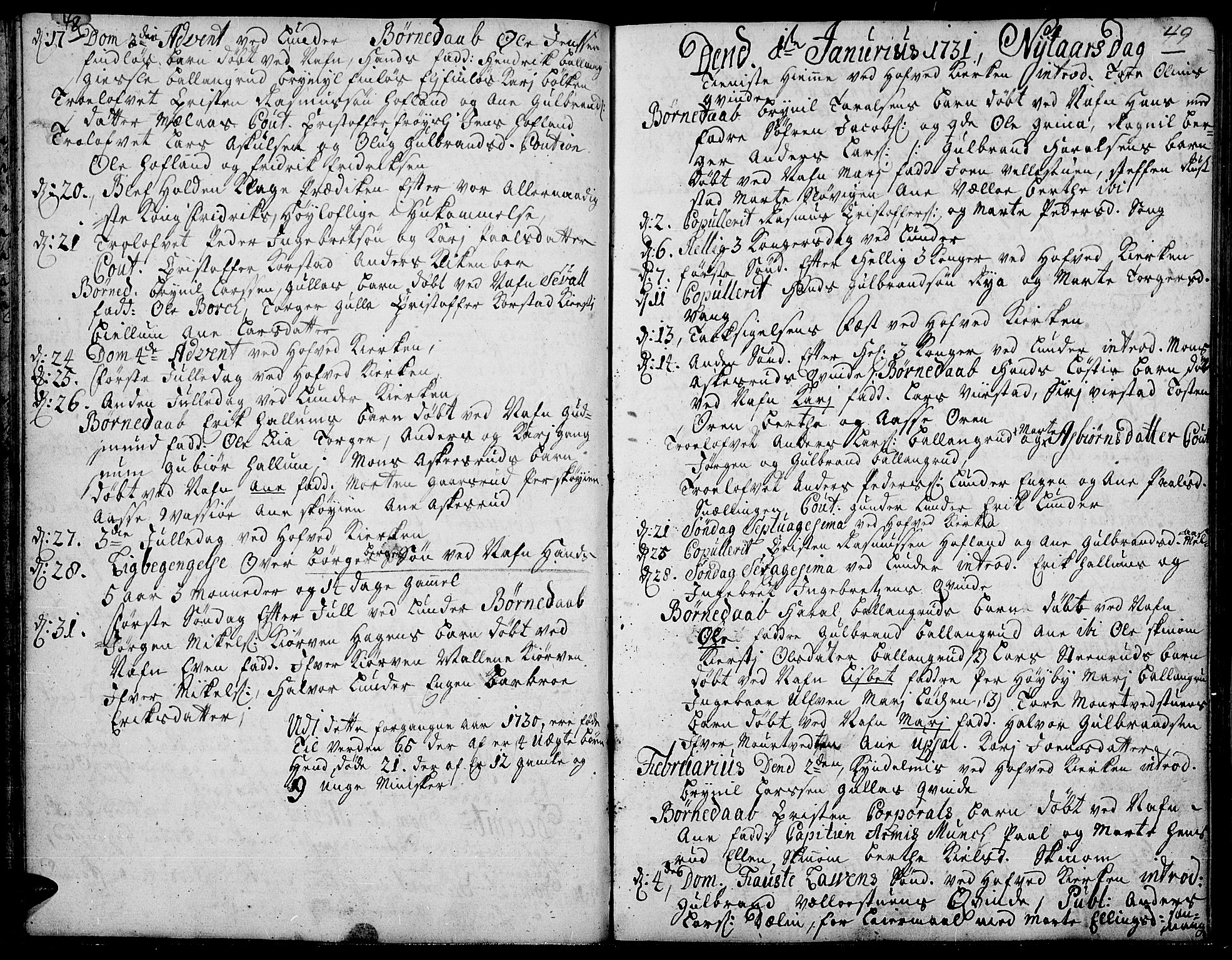 SAH, Jevnaker prestekontor, Ministerialbok nr. 2, 1725-1751, s. 48-49