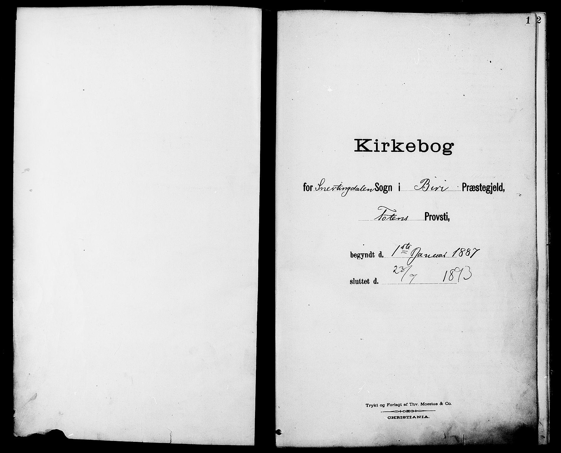 SAH, Biri prestekontor, Ministerialbok nr. 7, 1887-1893, s. 1
