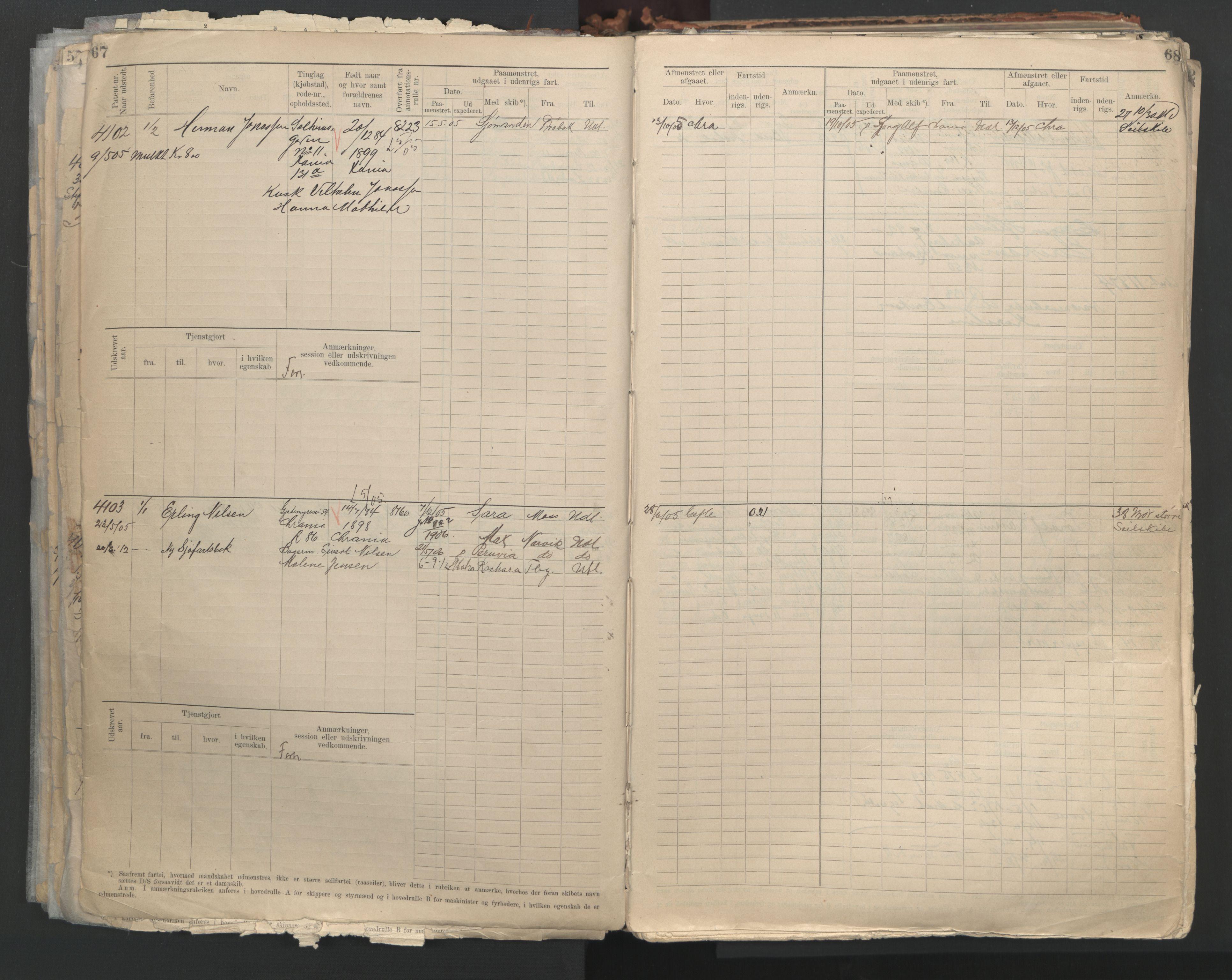 SAO, Oslo sjømannskontor, F/Fc/L0004: Hovedrulle, 1904, s. 67-68