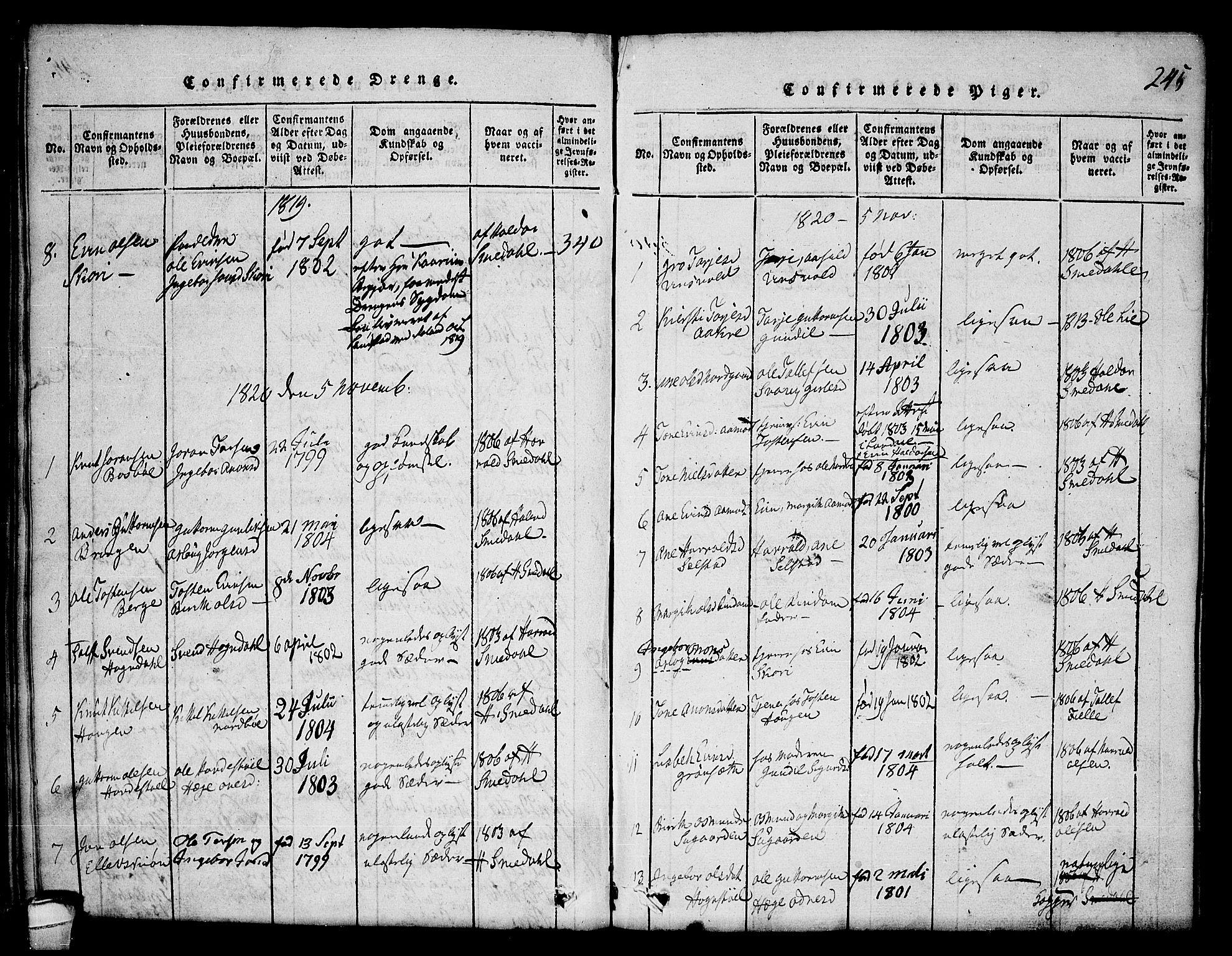SAKO, Seljord kirkebøker, F/Fc/L0001: Ministerialbok nr. III 1, 1815-1831, s. 245