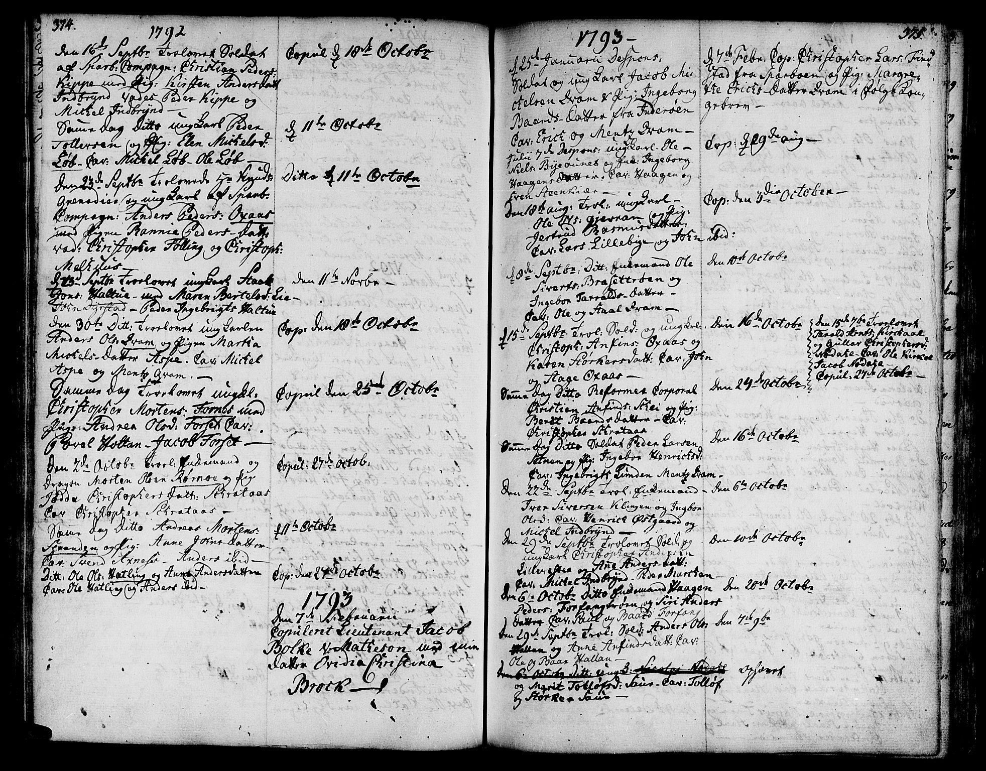 SAT, Ministerialprotokoller, klokkerbøker og fødselsregistre - Nord-Trøndelag, 746/L0440: Ministerialbok nr. 746A02, 1760-1815, s. 374-375