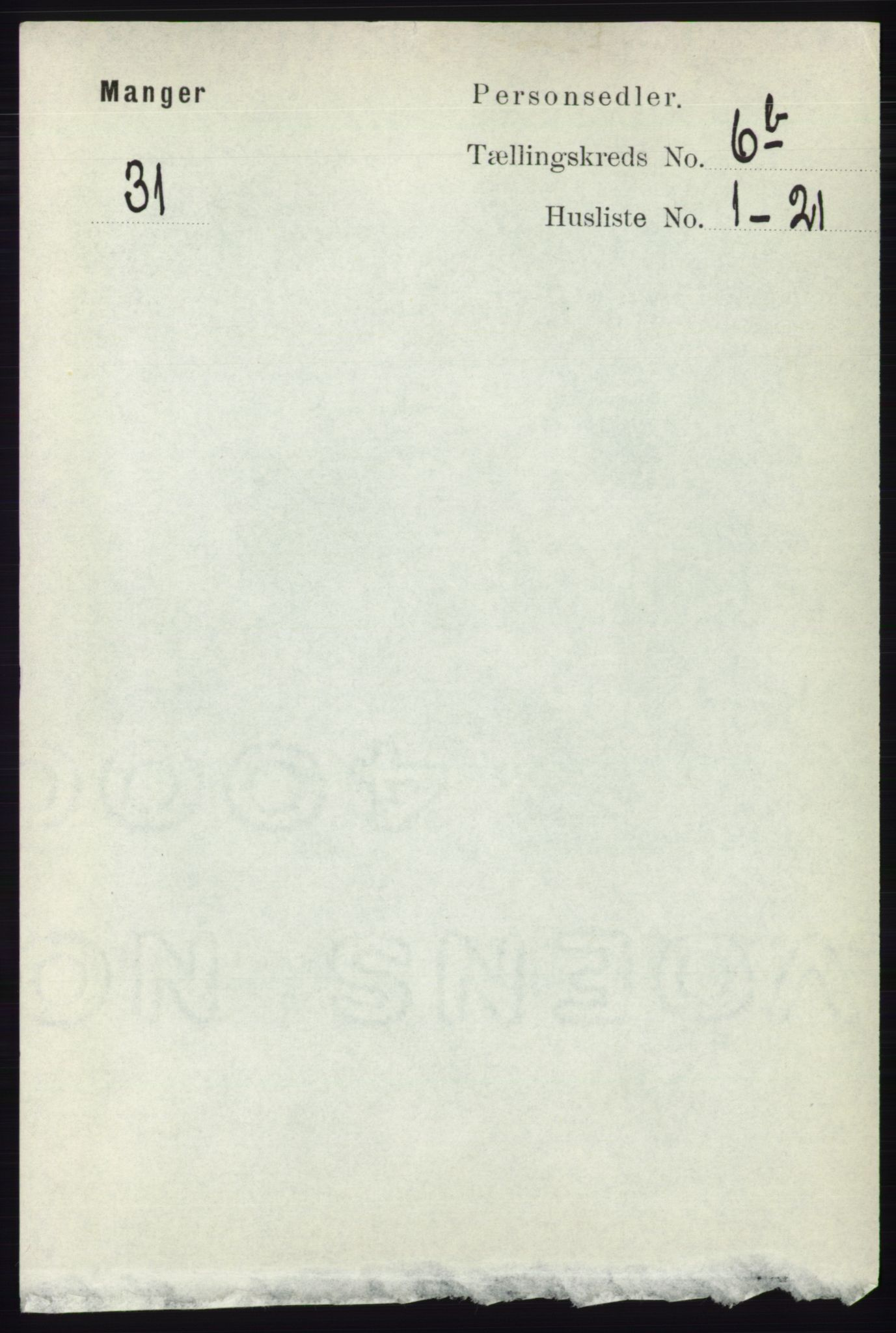 RA, Folketelling 1891 for 1261 Manger herred, 1891, s. 3990