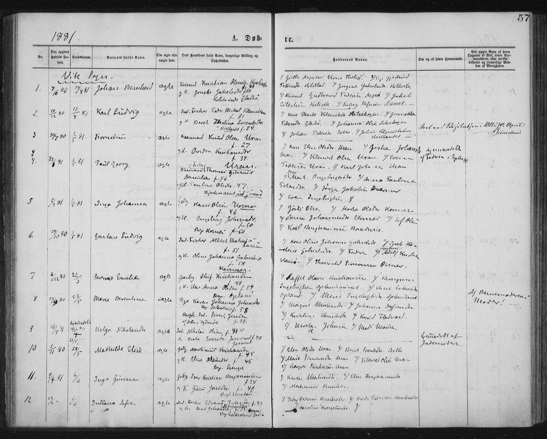 SAT, Ministerialprotokoller, klokkerbøker og fødselsregistre - Nord-Trøndelag, 771/L0596: Ministerialbok nr. 771A03, 1870-1884, s. 57