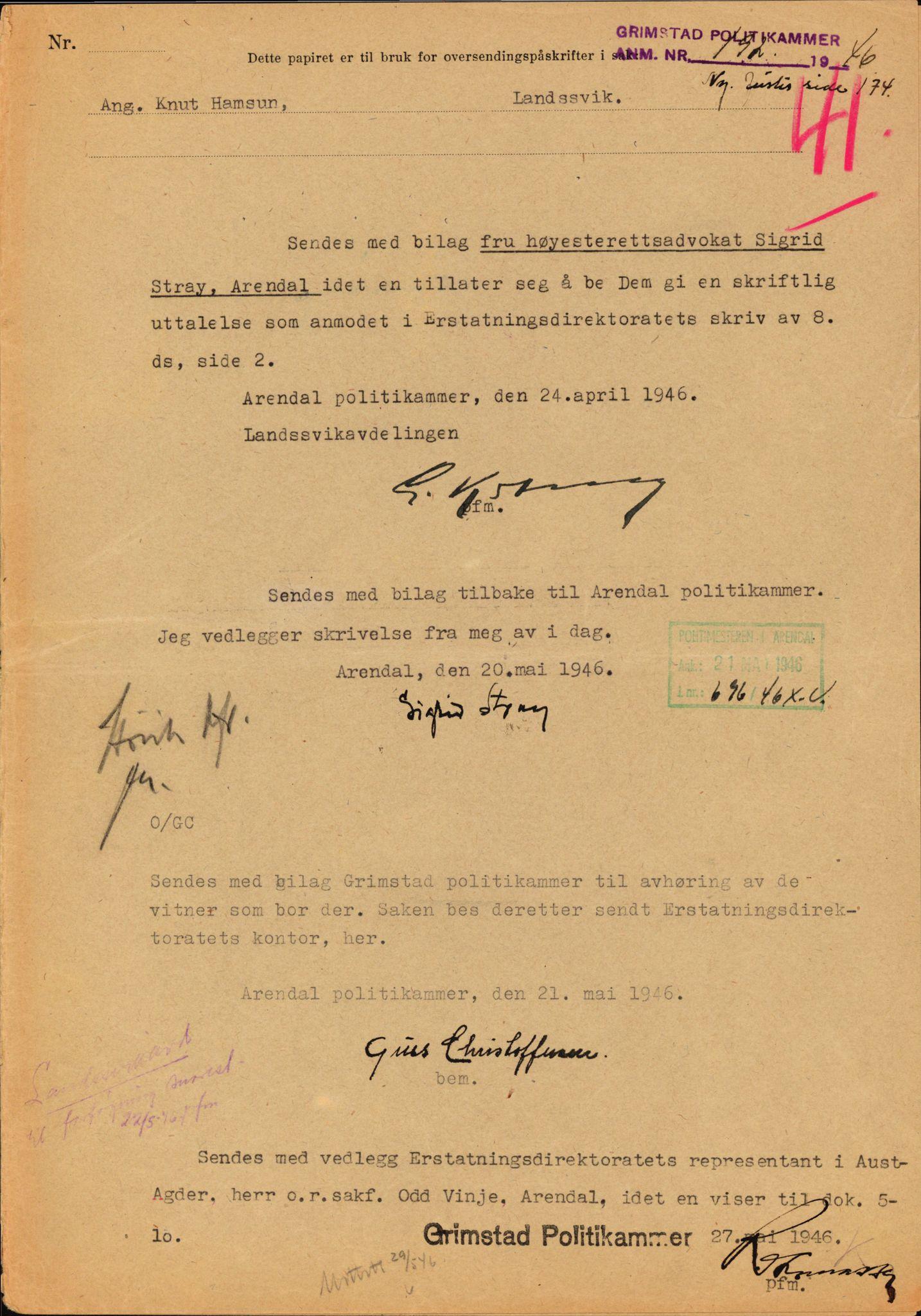 RA, Landssvikarkivet, Arendal politikammer, D/Dc/L0029: Anr. 192/45, 1945-1951, s. 373