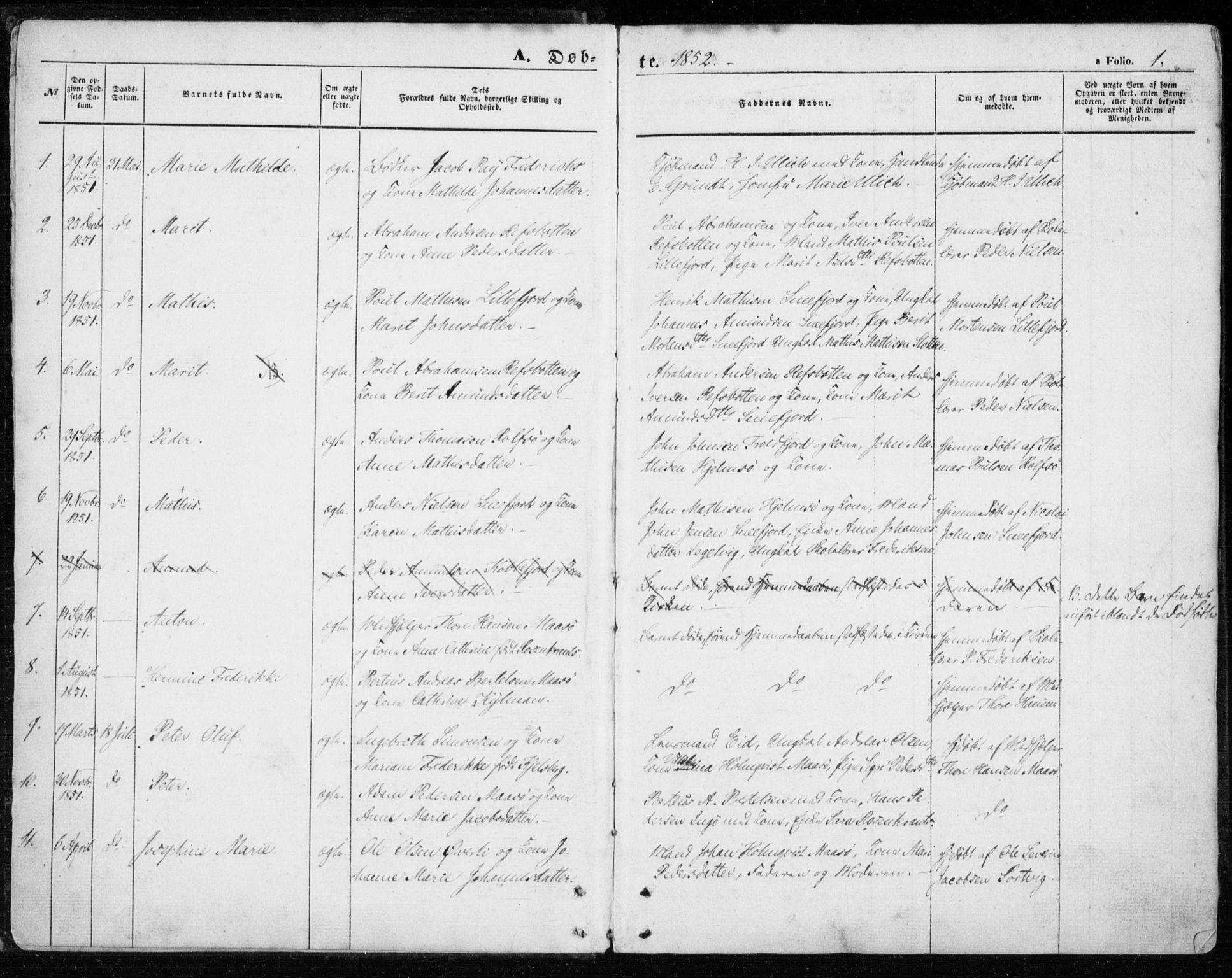 SATØ, Måsøy sokneprestkontor, H/Ha/L0002kirke: Ministerialbok nr. 2, 1852-1865, s. 1