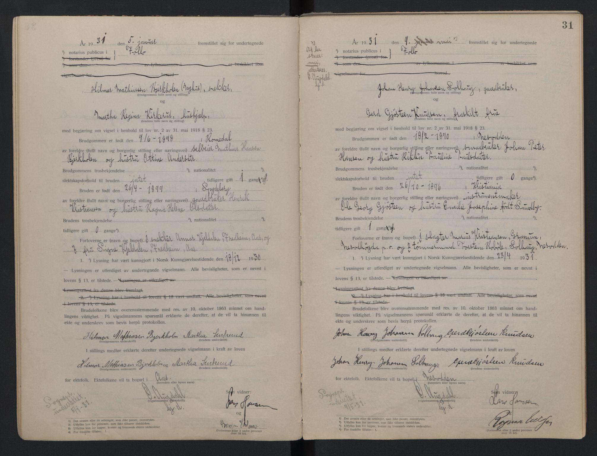 SAO, Follo sorenskriveri, L/La/Lab/L0001: Vigselsbok, 1920-1942, s. 31