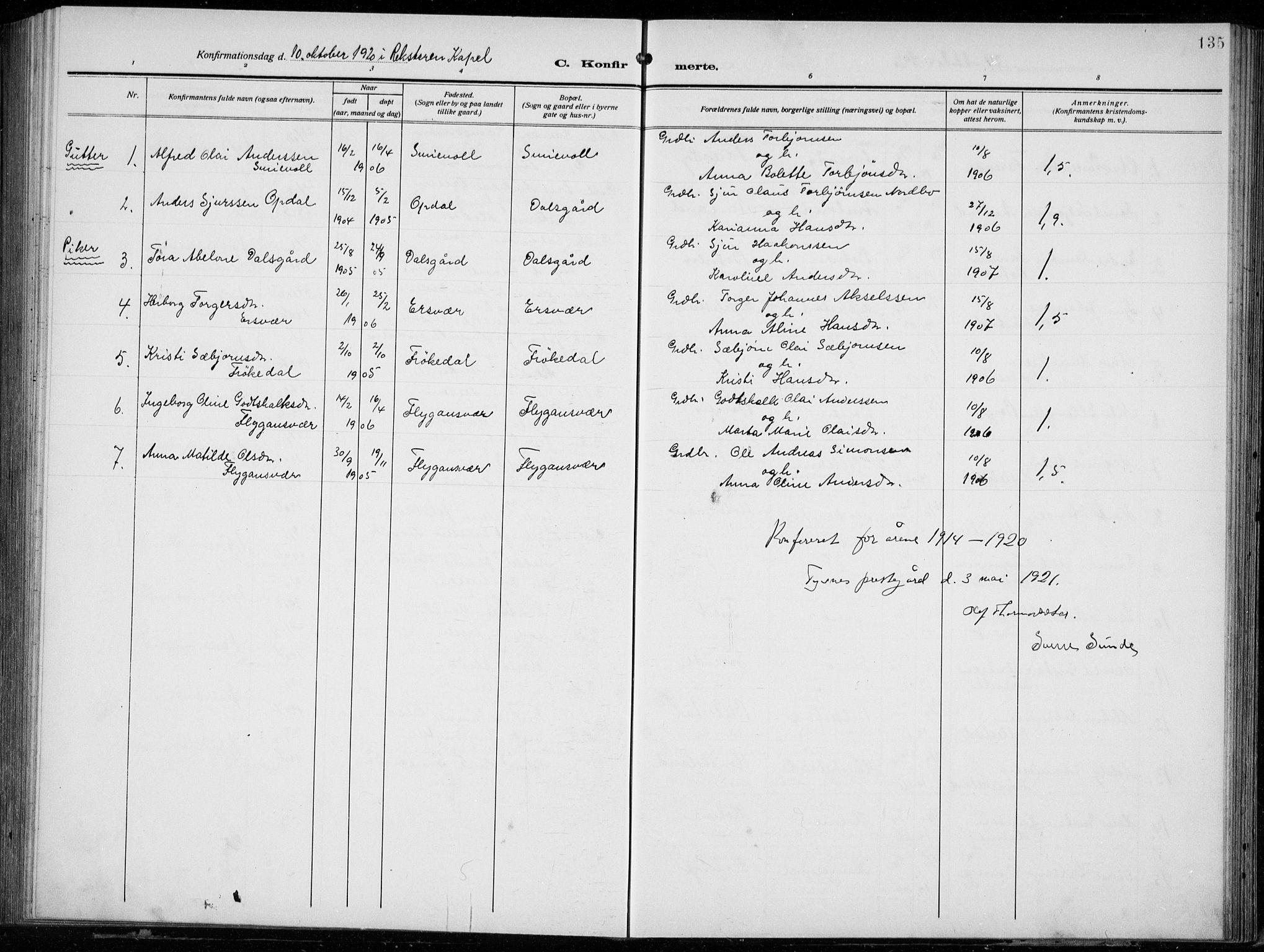 SAB, Tysnes Sokneprestembete, H/Hab: Klokkerbok nr. E  4, 1912-1936, s. 135