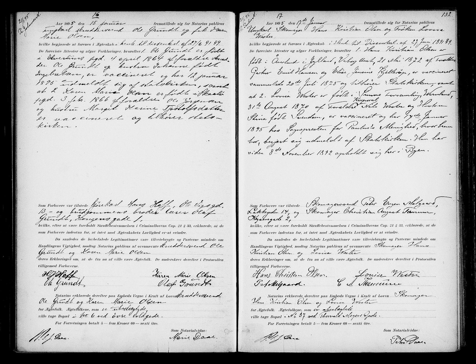 SAO, Oslo byfogd avd. I, L/Lb/Lbb/L0003: Notarialprotokoll, rekke II: Vigsler, 1893-1897, s. 131b-132a