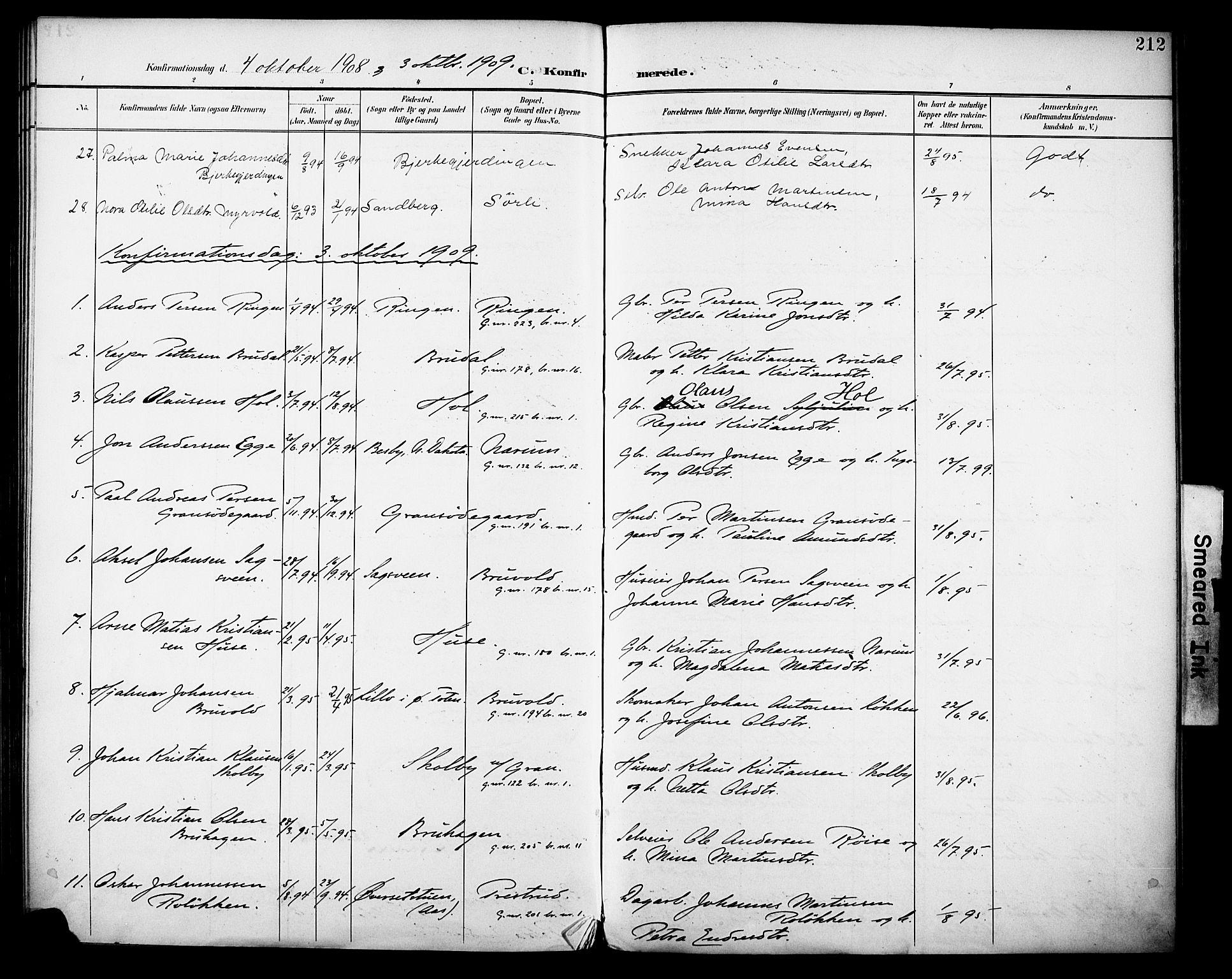 SAH, Vestre Toten prestekontor, H/Ha/Haa/L0013: Ministerialbok nr. 13, 1895-1911, s. 212