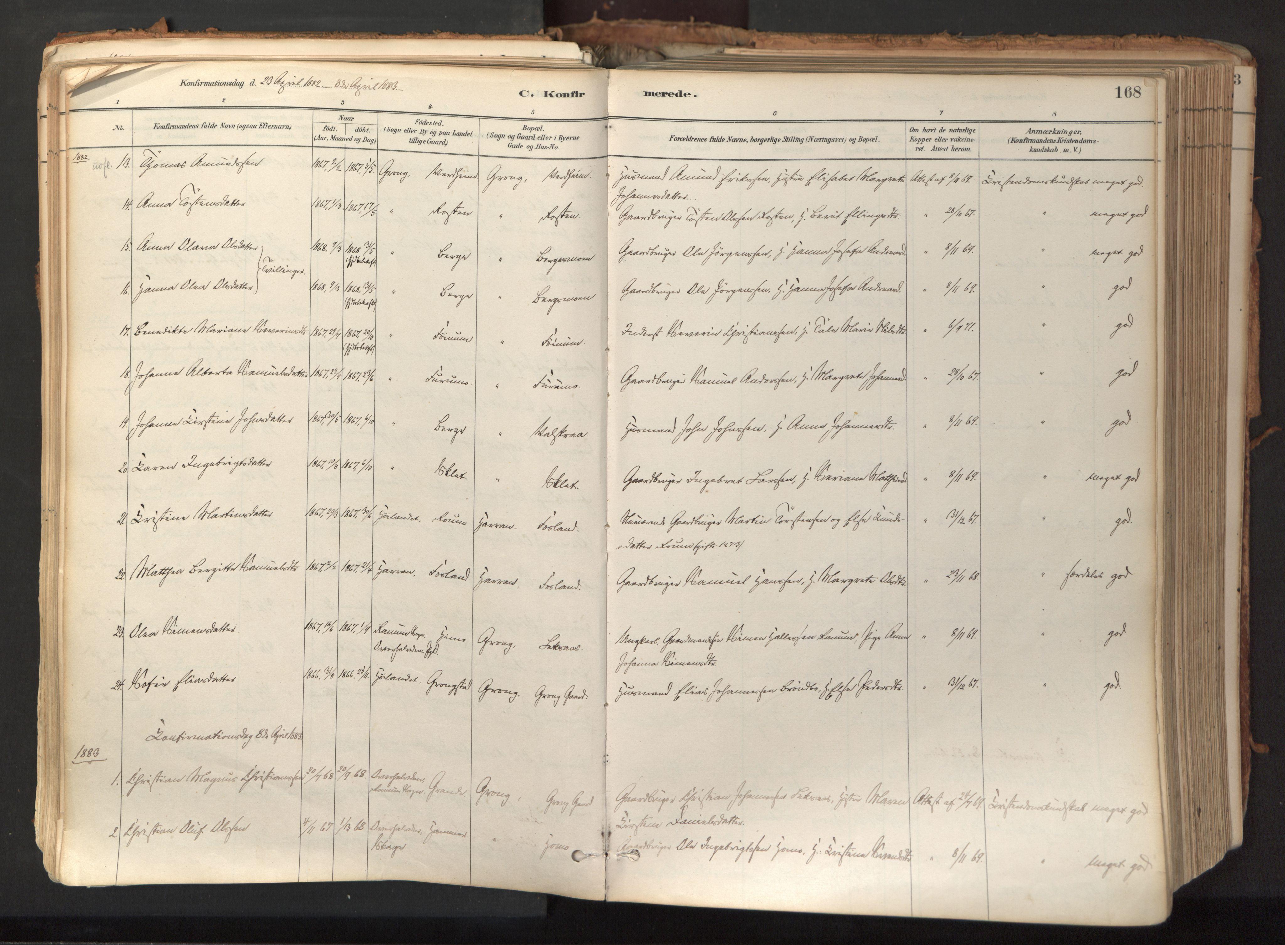 SAT, Ministerialprotokoller, klokkerbøker og fødselsregistre - Nord-Trøndelag, 758/L0519: Ministerialbok nr. 758A04, 1880-1926, s. 168