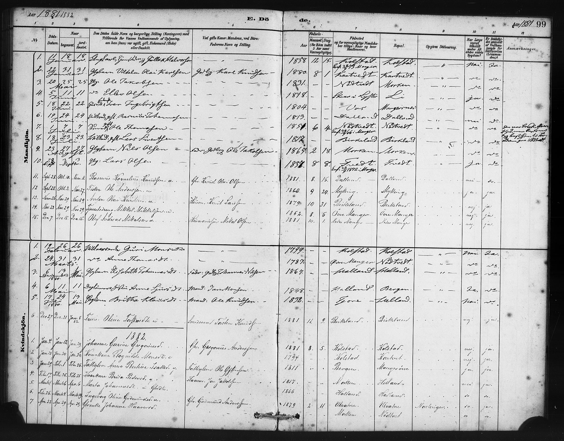 SAB, Manger sokneprestembete, H/Haa: Ministerialbok nr. B 1, 1881-1892, s. 99