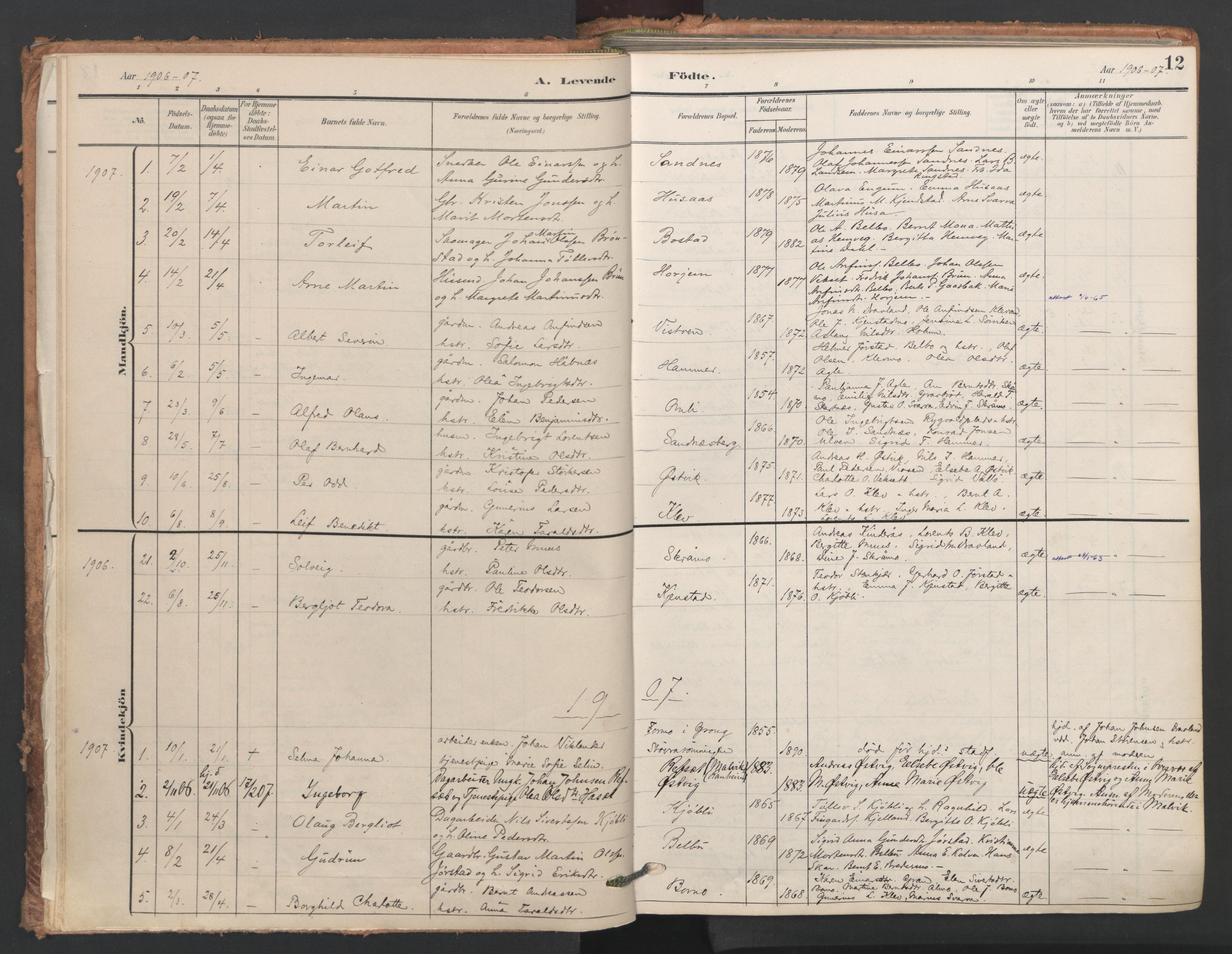 SAT, Ministerialprotokoller, klokkerbøker og fødselsregistre - Nord-Trøndelag, 749/L0477: Ministerialbok nr. 749A11, 1902-1927, s. 12