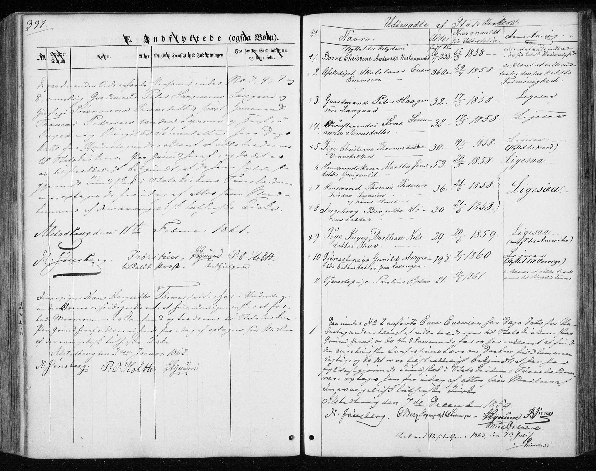 SAT, Ministerialprotokoller, klokkerbøker og fødselsregistre - Nord-Trøndelag, 717/L0154: Ministerialbok nr. 717A07 /1, 1850-1862, s. 397