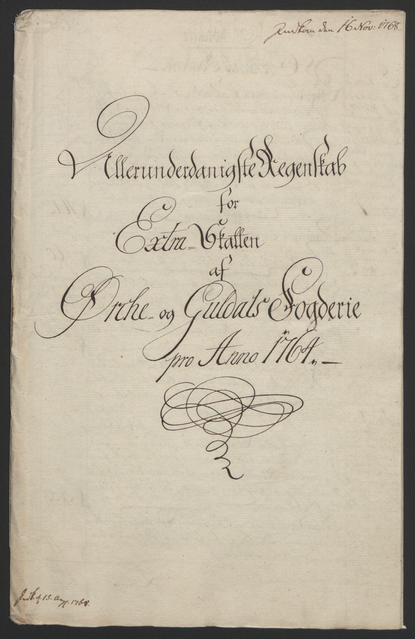 RA, Rentekammeret inntil 1814, Reviderte regnskaper, Fogderegnskap, R60/L4094: Ekstraskatten Orkdal og Gauldal, 1762-1765, s. 128