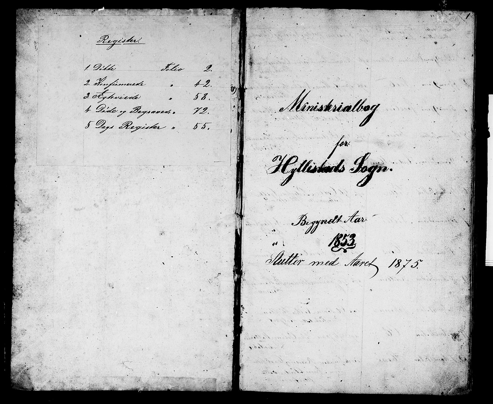 SAB, Hyllestad Sokneprestembete, Klokkerbok nr. A 1, 1853-1875, s. 1