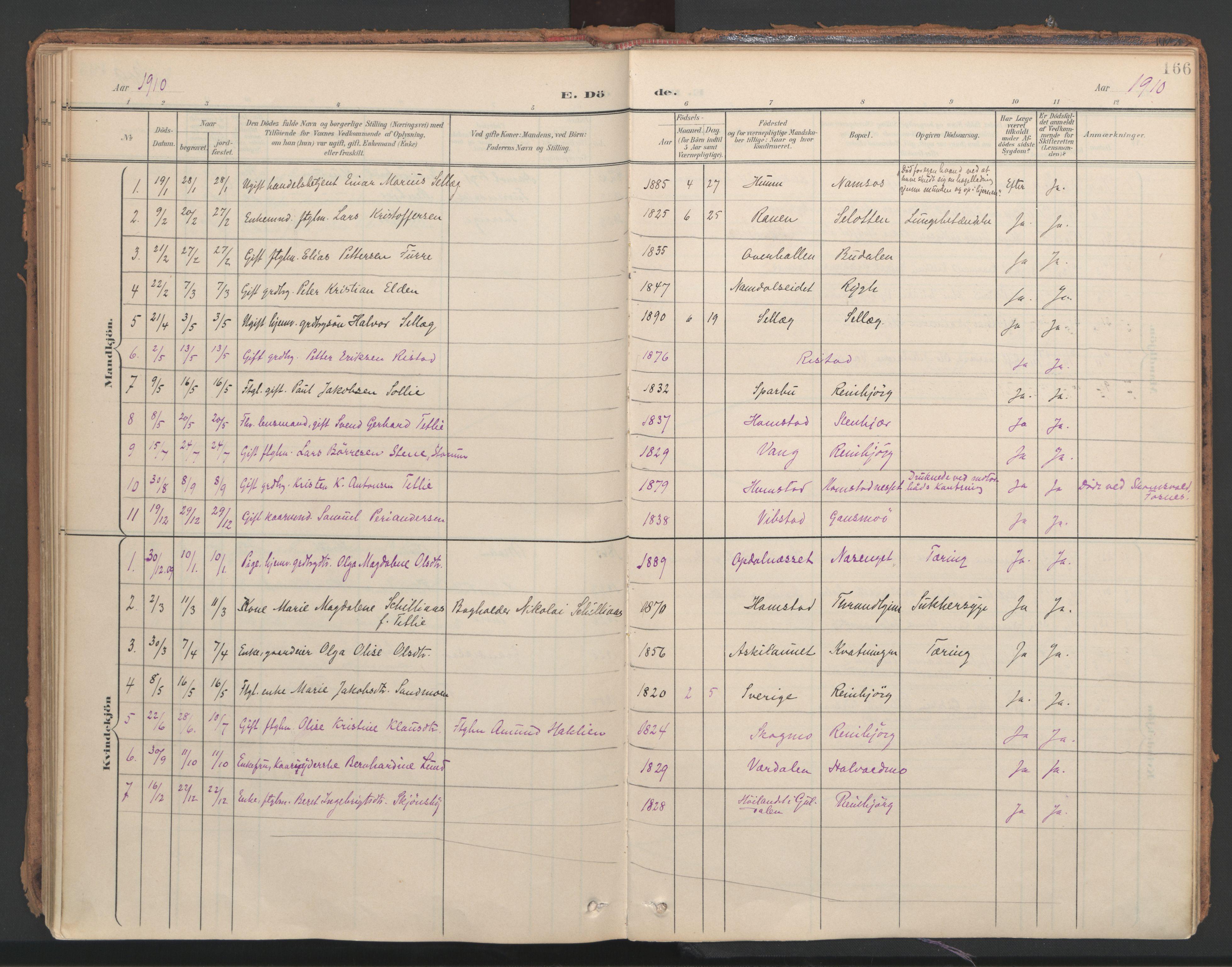 SAT, Ministerialprotokoller, klokkerbøker og fødselsregistre - Nord-Trøndelag, 766/L0564: Ministerialbok nr. 767A02, 1900-1932, s. 166