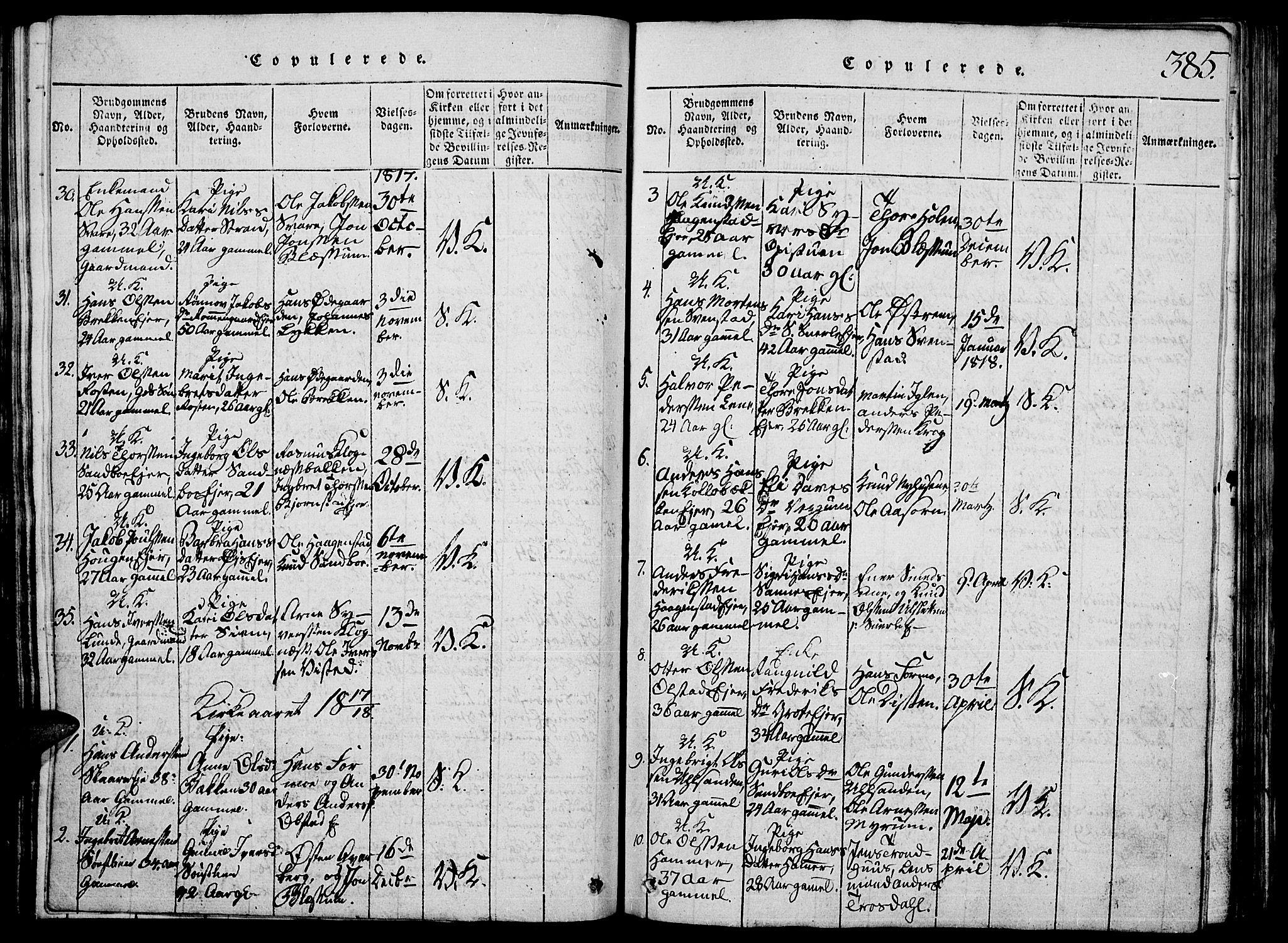 SAH, Vågå prestekontor, Klokkerbok nr. 1, 1815-1827, s. 384-385
