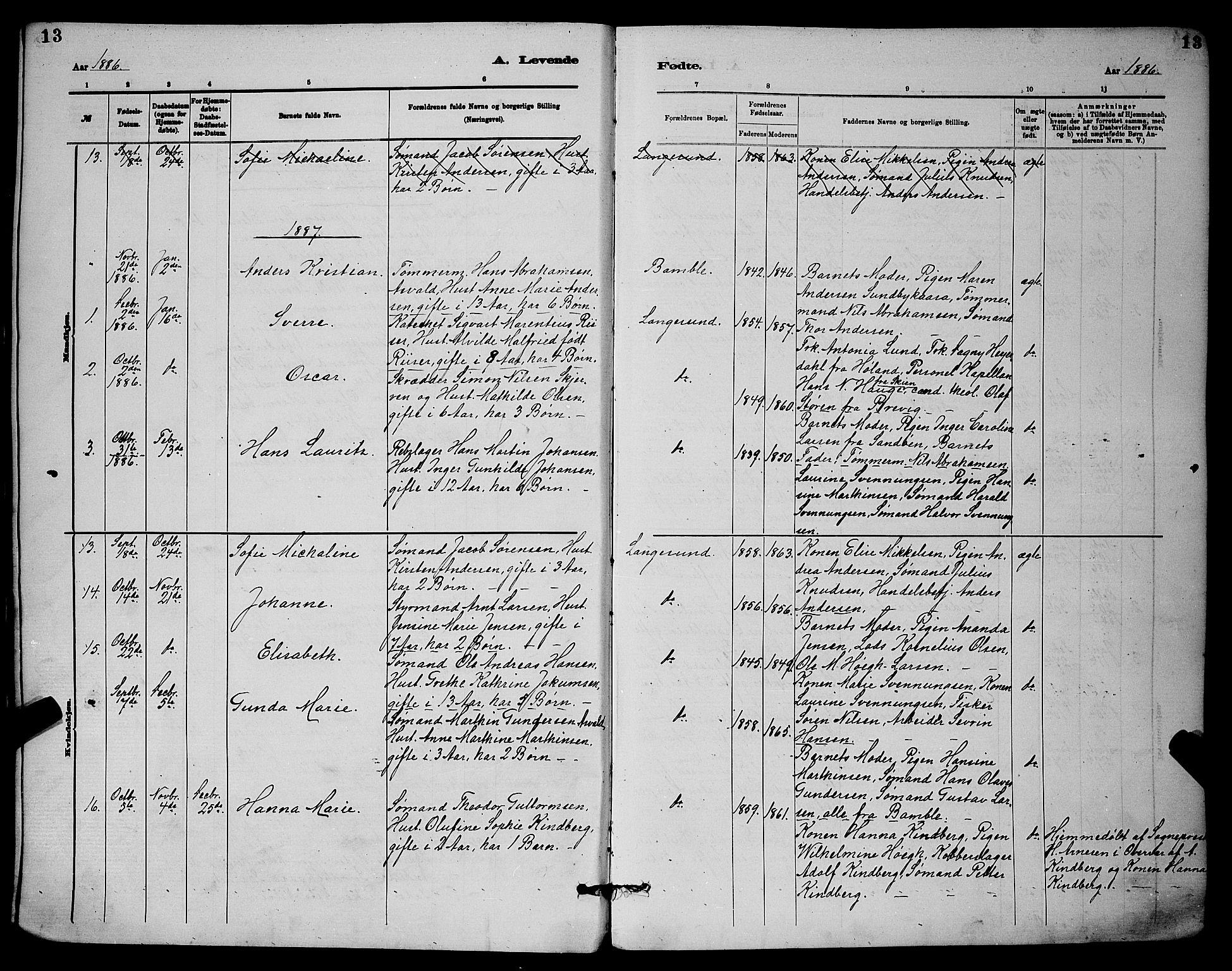SAKO, Langesund kirkebøker, G/Ga/L0005: Klokkerbok nr. 5, 1884-1898, s. 13