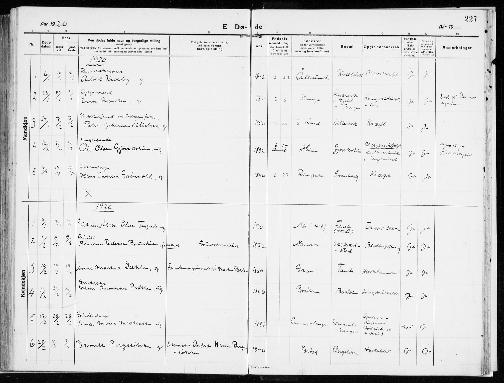 SAH, Vardal prestekontor, H/Ha/Haa/L0017: Ministerialbok nr. 17, 1915-1929, s. 227
