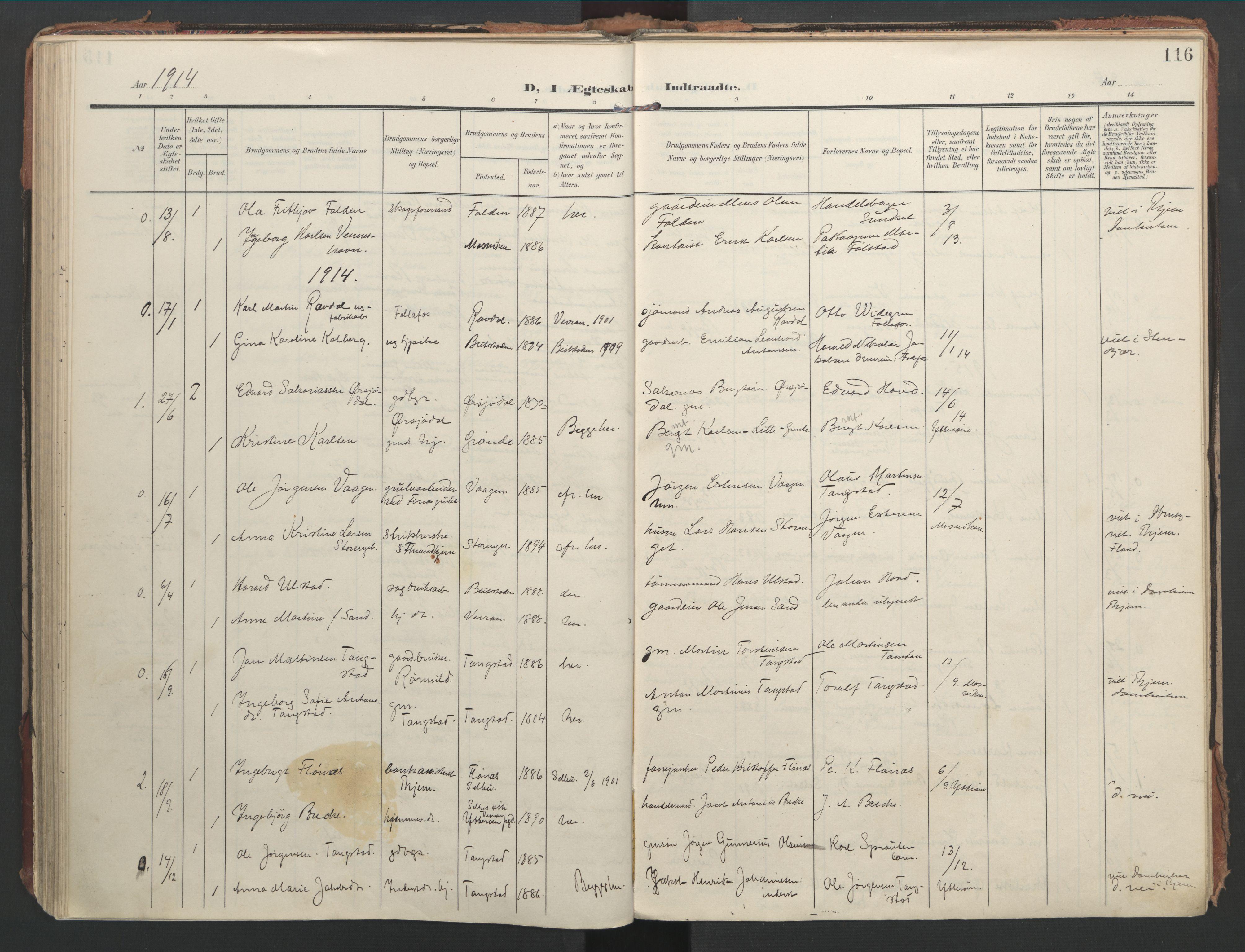 SAT, Ministerialprotokoller, klokkerbøker og fødselsregistre - Nord-Trøndelag, 744/L0421: Ministerialbok nr. 744A05, 1905-1930, s. 116