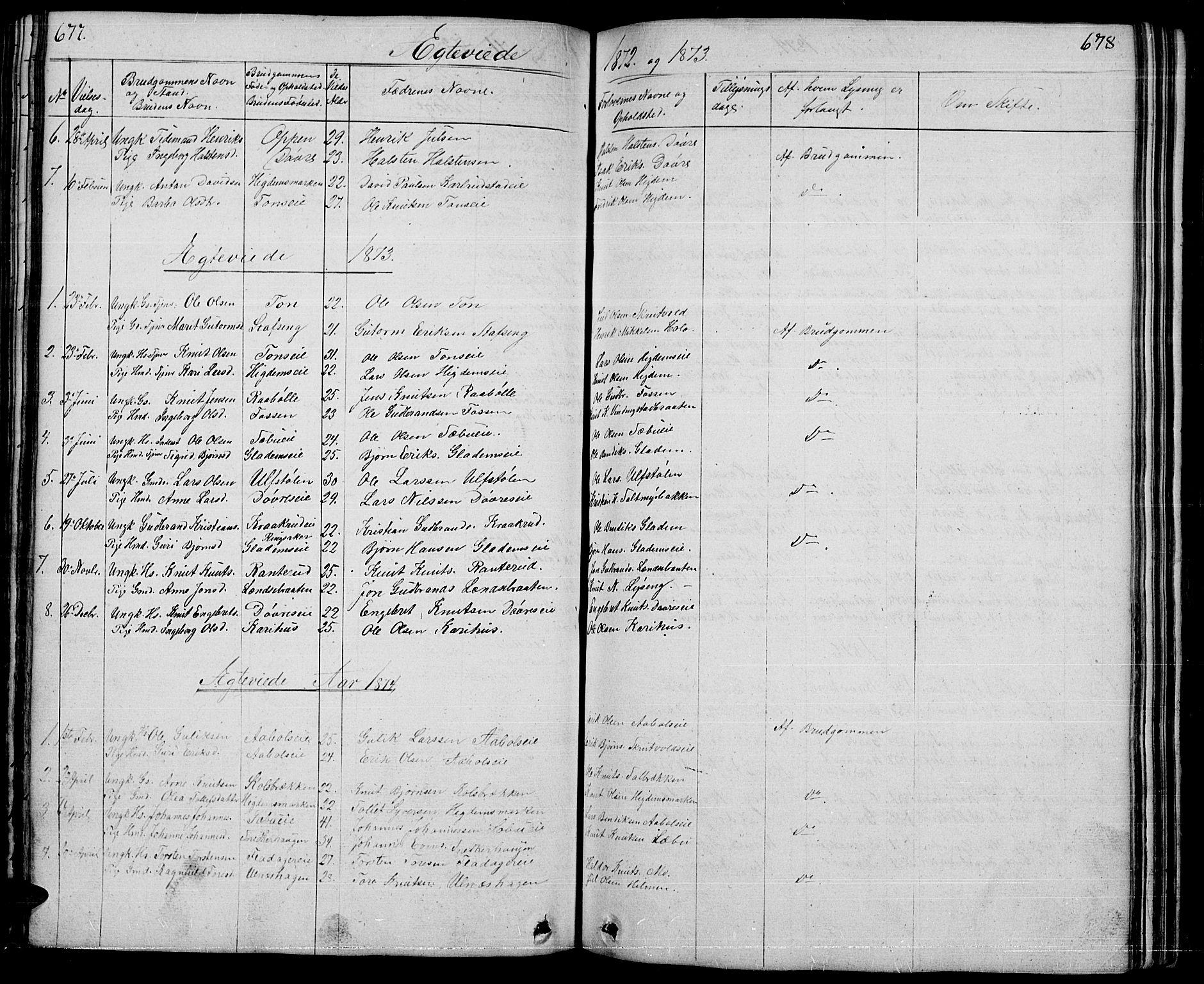 SAH, Nord-Aurdal prestekontor, Klokkerbok nr. 1, 1834-1887, s. 677-678