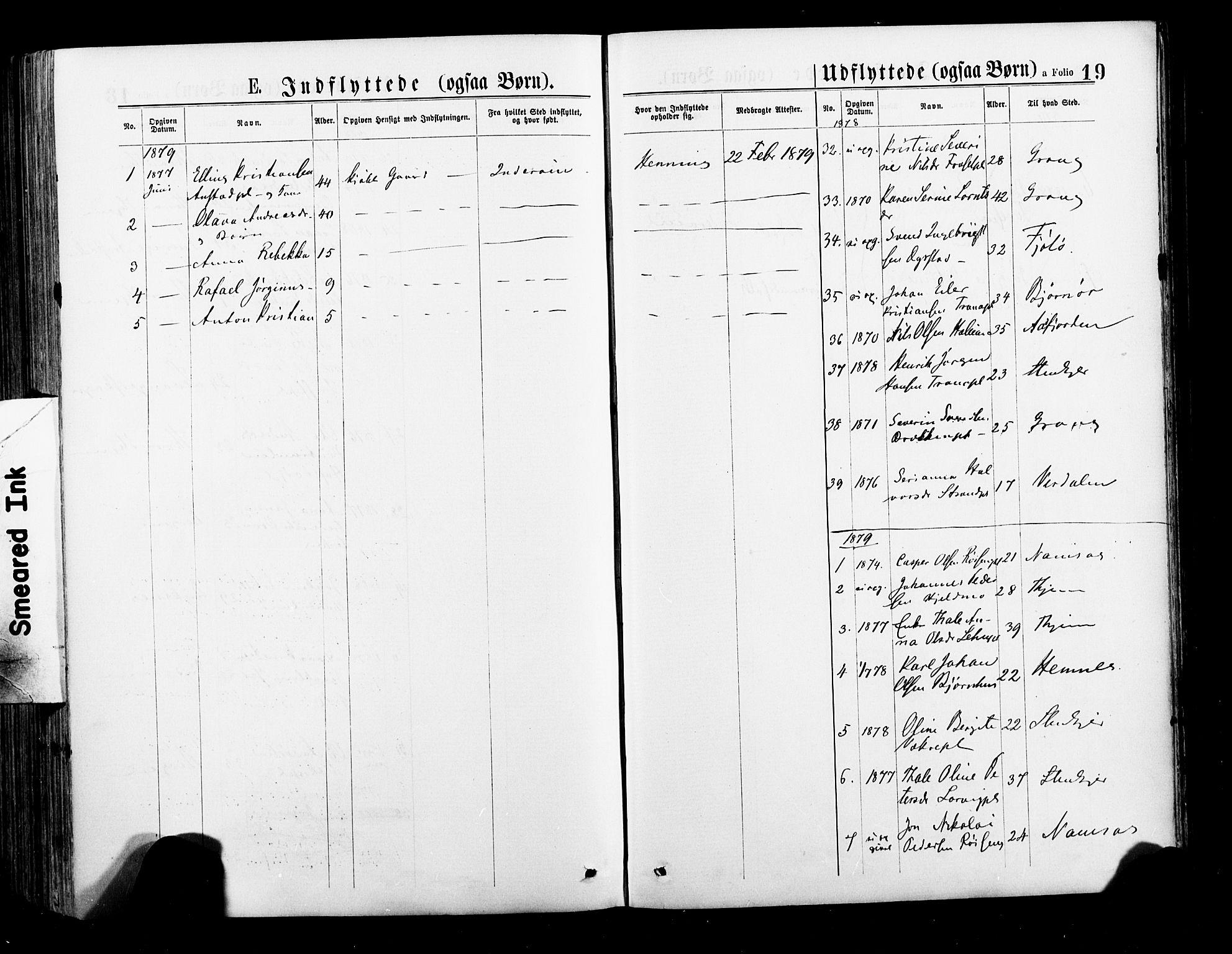 SAT, Ministerialprotokoller, klokkerbøker og fødselsregistre - Nord-Trøndelag, 735/L0348: Ministerialbok nr. 735A09 /1, 1873-1883, s. 19