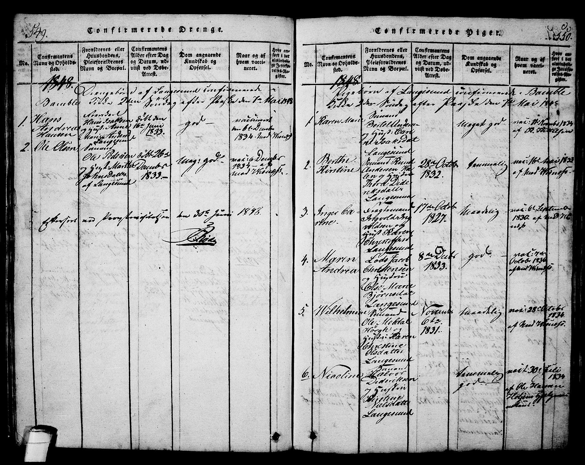 SAKO, Langesund kirkebøker, G/Ga/L0003: Klokkerbok nr. 3, 1815-1858, s. 549-550