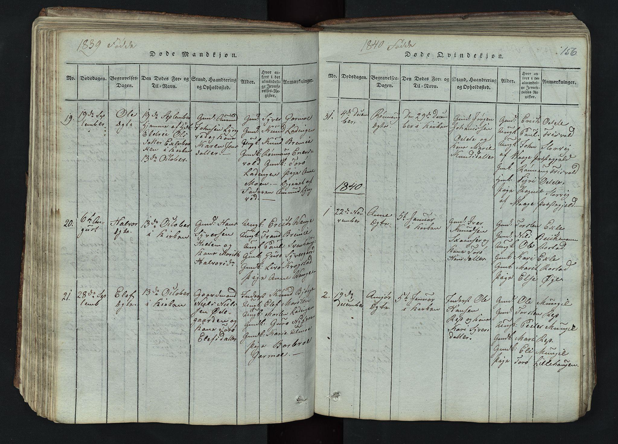 SAH, Lom prestekontor, L/L0002: Klokkerbok nr. 2, 1815-1844, s. 156