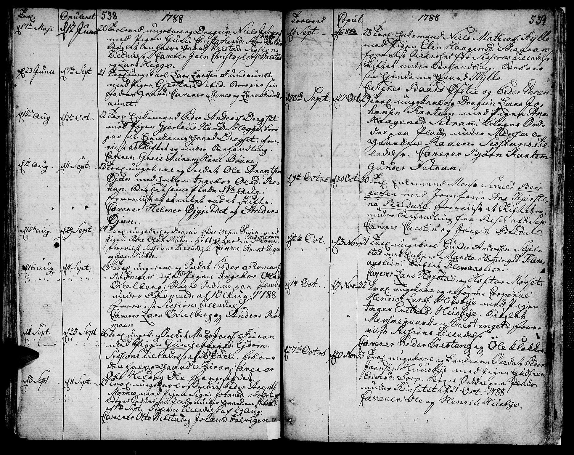 SAT, Ministerialprotokoller, klokkerbøker og fødselsregistre - Nord-Trøndelag, 709/L0059: Ministerialbok nr. 709A06, 1781-1797, s. 538-539