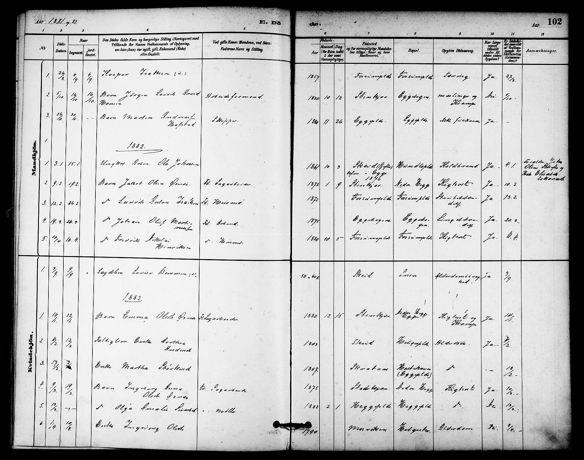 SAT, Ministerialprotokoller, klokkerbøker og fødselsregistre - Nord-Trøndelag, 740/L0378: Ministerialbok nr. 740A01, 1881-1895, s. 102