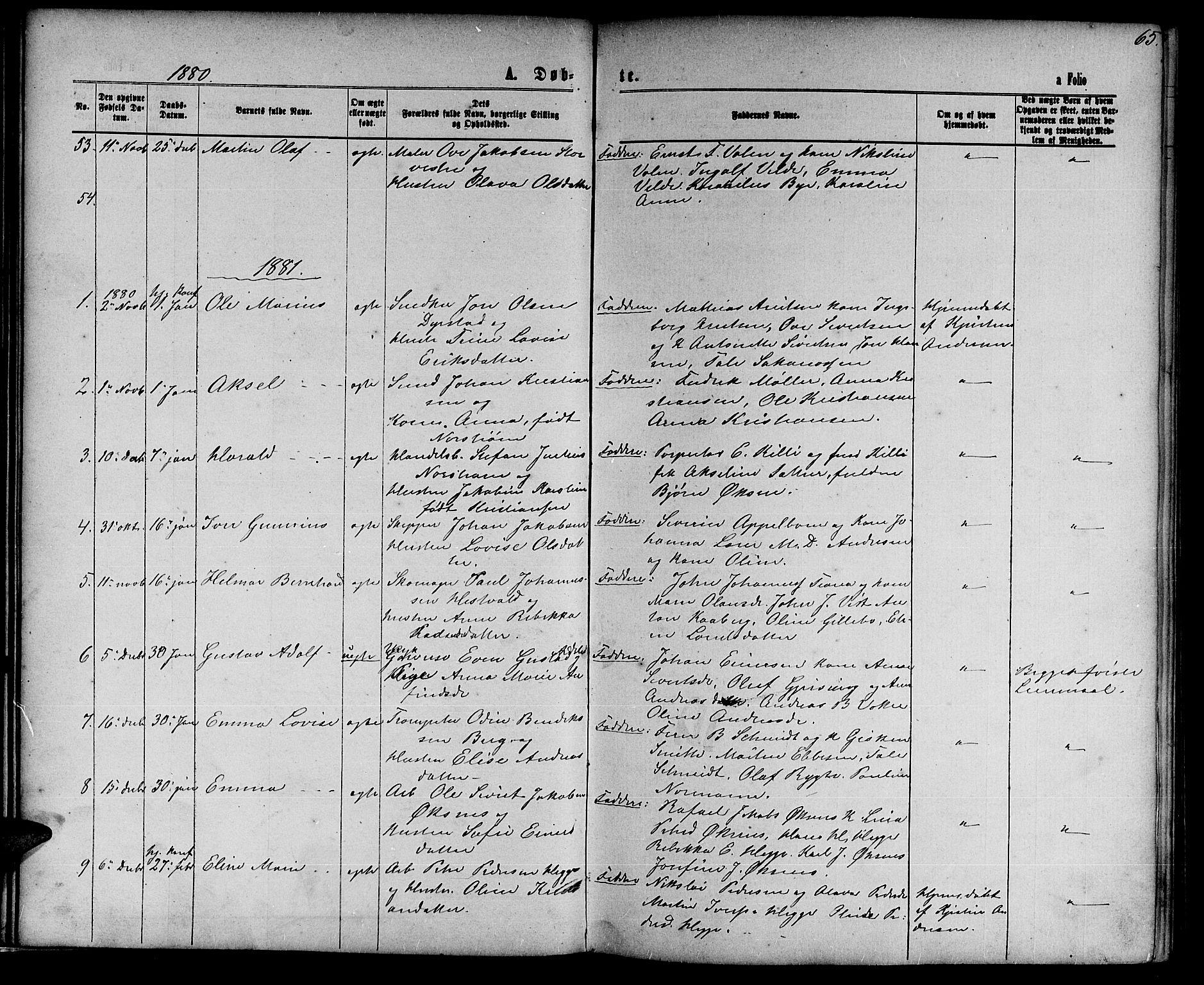SAT, Ministerialprotokoller, klokkerbøker og fødselsregistre - Nord-Trøndelag, 739/L0373: Klokkerbok nr. 739C01, 1865-1882, s. 65