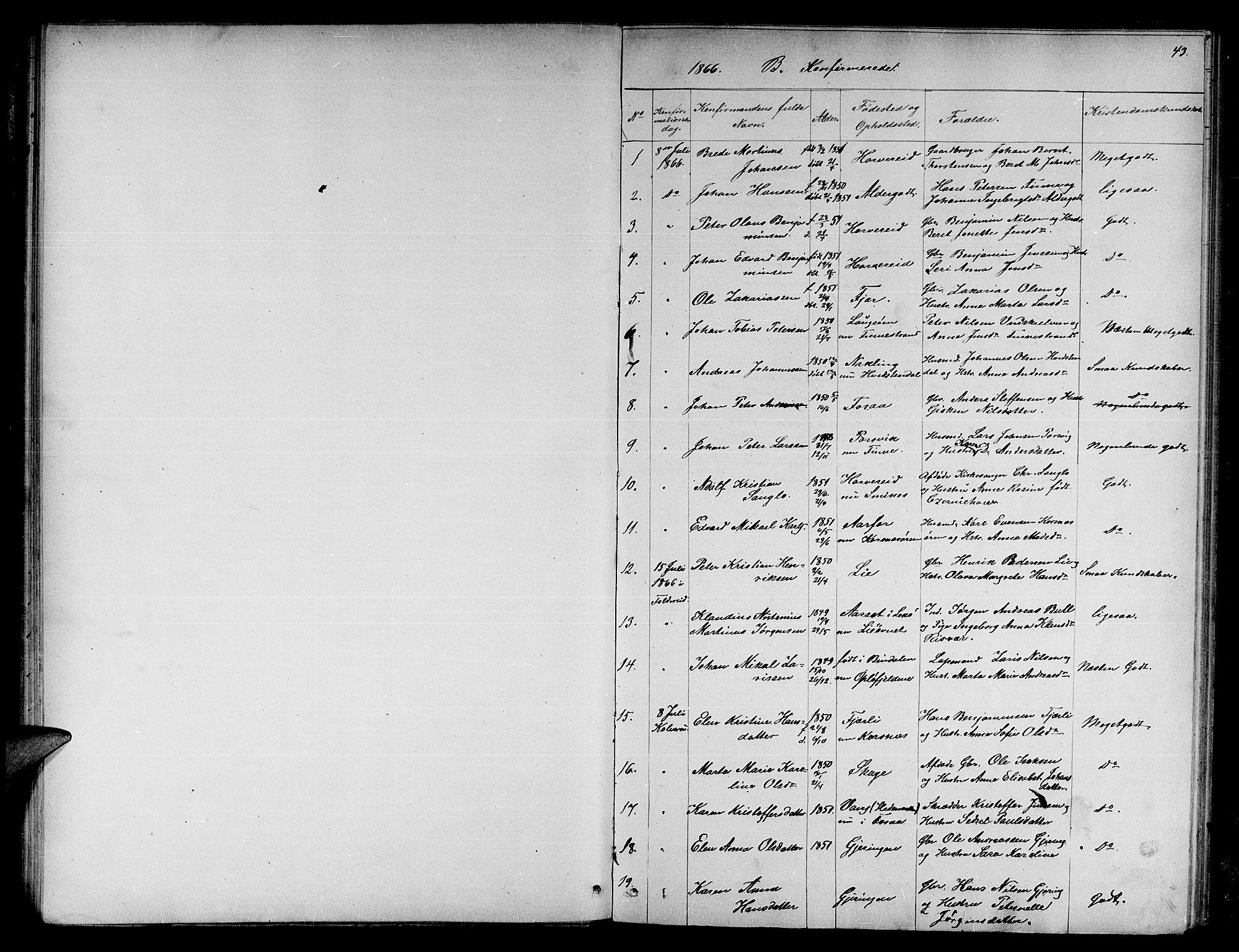 SAT, Ministerialprotokoller, klokkerbøker og fødselsregistre - Nord-Trøndelag, 780/L0650: Klokkerbok nr. 780C02, 1866-1884, s. 43