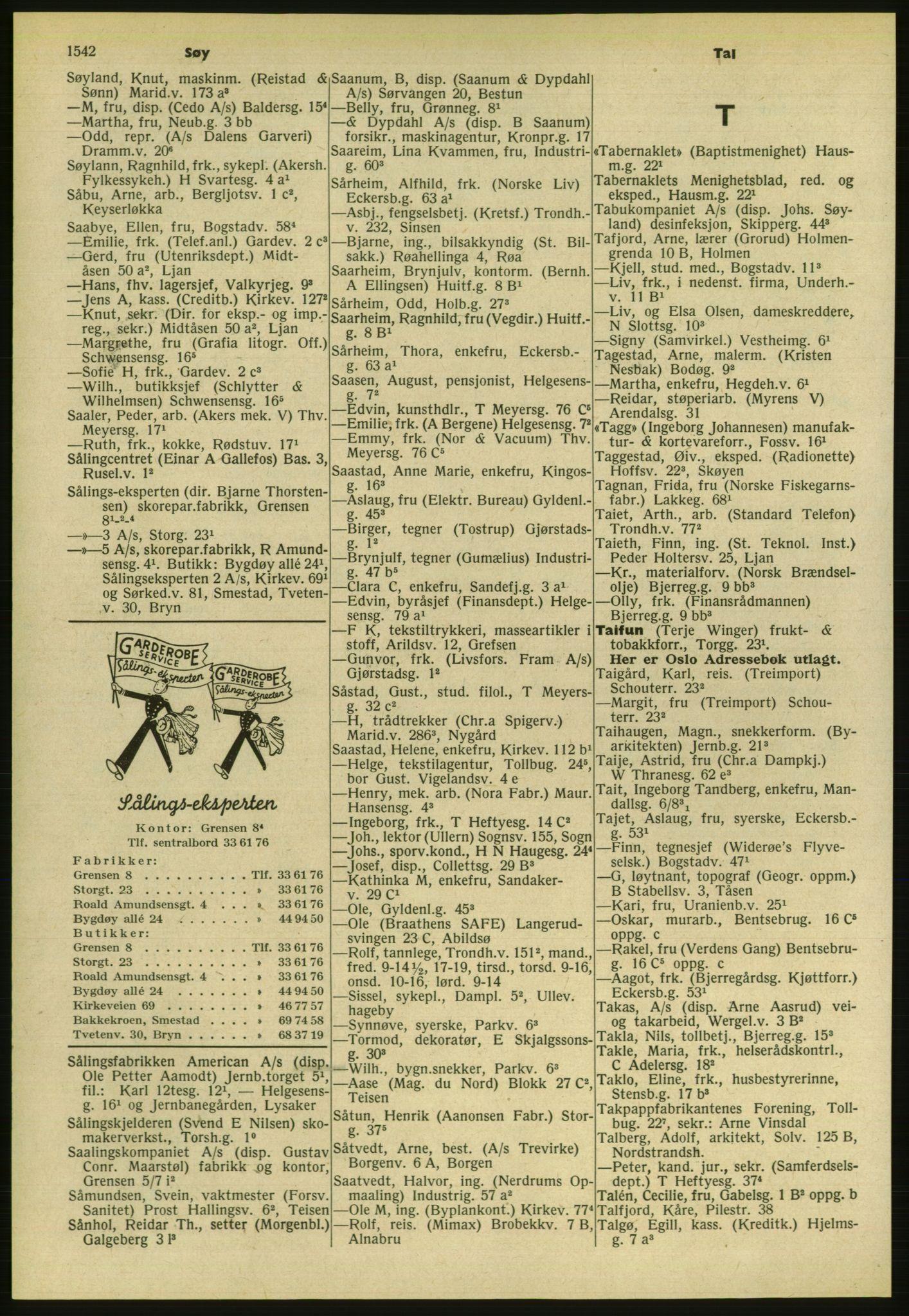 PUBL, Kristiania/Oslo adressebok, 1954, s. 1542