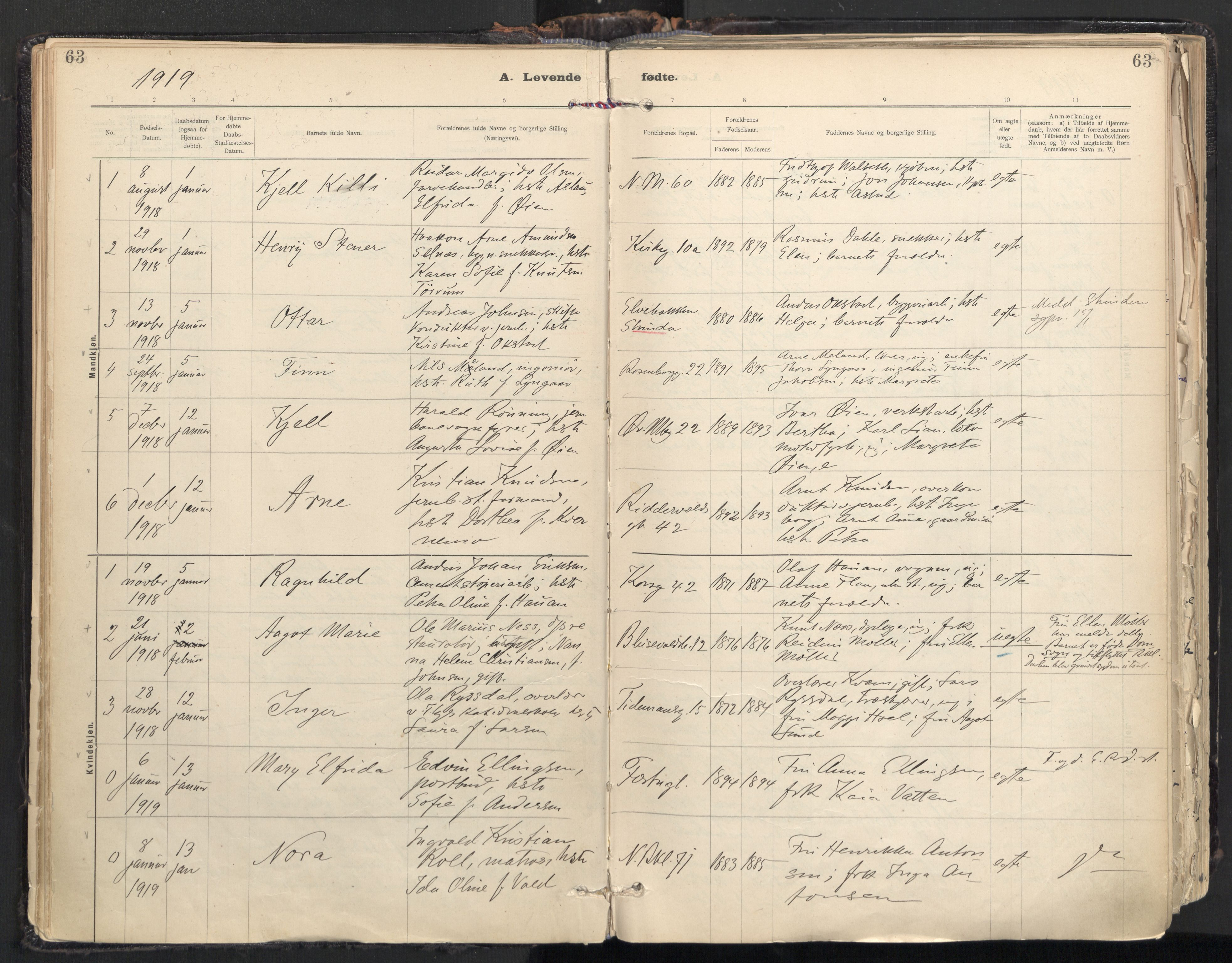 SAT, Ministerialprotokoller, klokkerbøker og fødselsregistre - Sør-Trøndelag, 604/L0205: Ministerialbok nr. 604A25, 1917-1932, s. 63