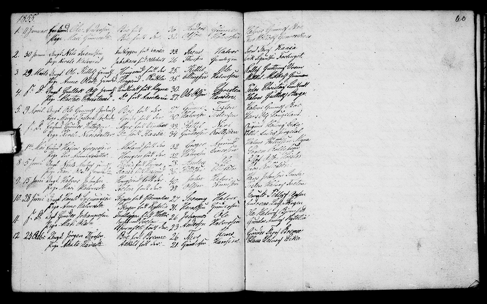 SAKO, Bø kirkebøker, G/Ga/L0002: Klokkerbok nr. 2, 1853-1866, s. 60