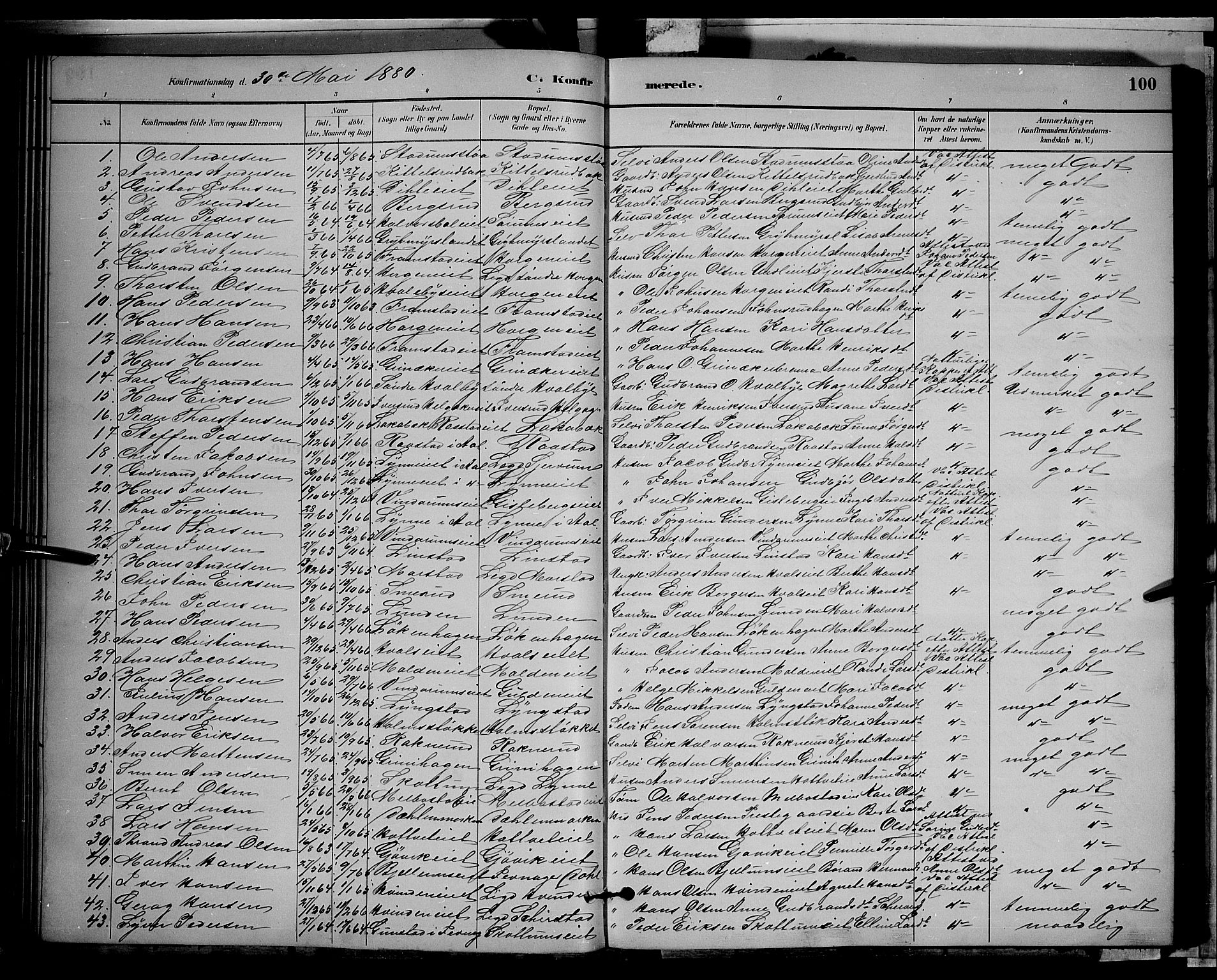 SAH, Gran prestekontor, Klokkerbok nr. 2, 1879-1892, s. 100