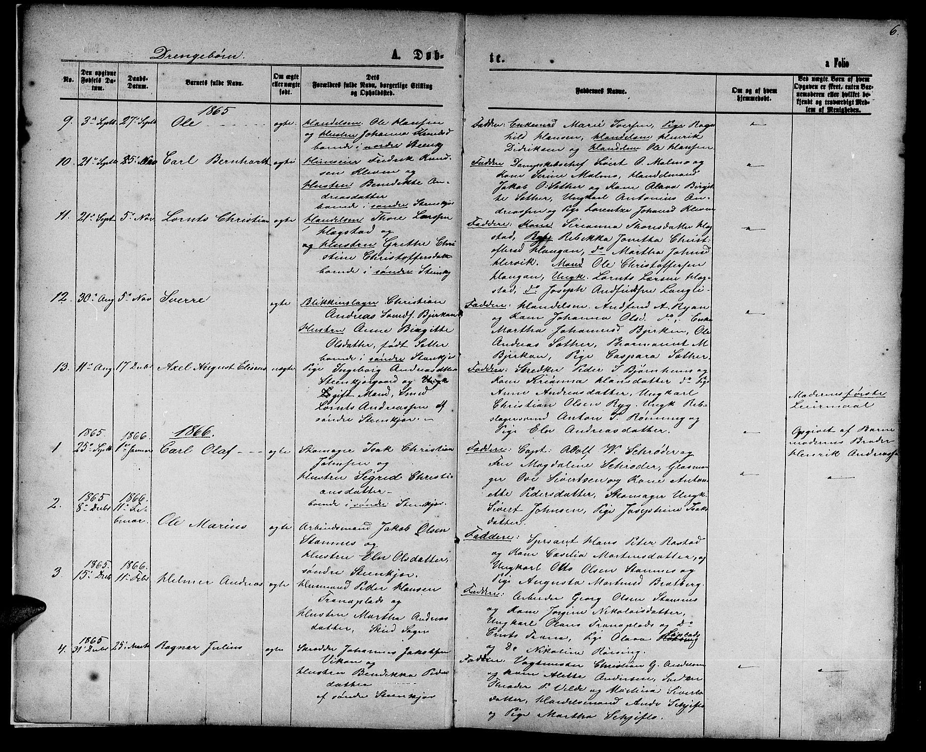 SAT, Ministerialprotokoller, klokkerbøker og fødselsregistre - Nord-Trøndelag, 739/L0373: Klokkerbok nr. 739C01, 1865-1882, s. 6