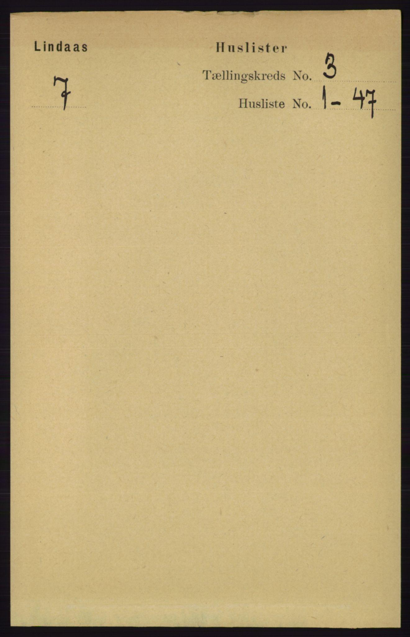 RA, Folketelling 1891 for 1263 Lindås herred, 1891, s. 756