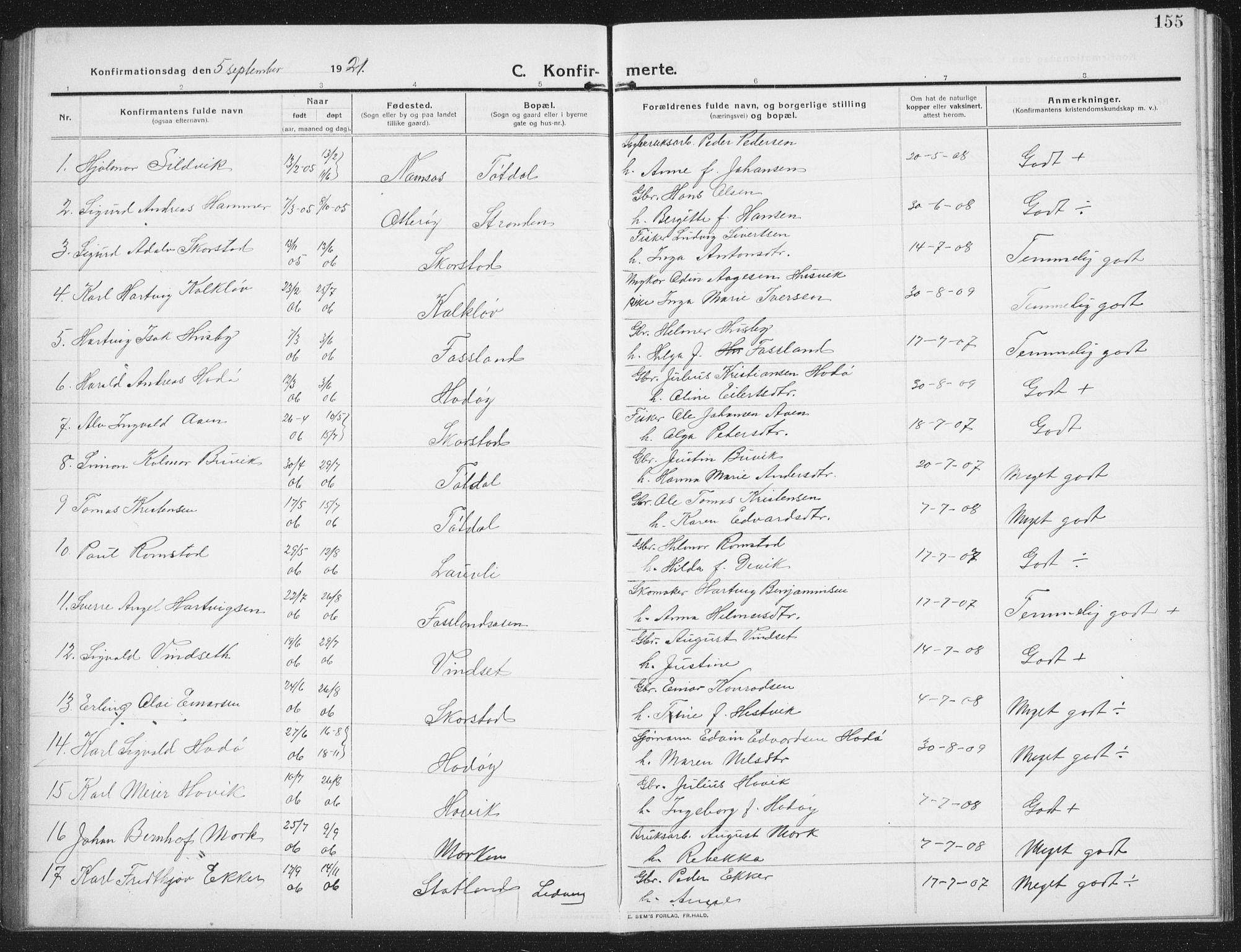 SAT, Ministerialprotokoller, klokkerbøker og fødselsregistre - Nord-Trøndelag, 774/L0630: Klokkerbok nr. 774C01, 1910-1934, s. 155