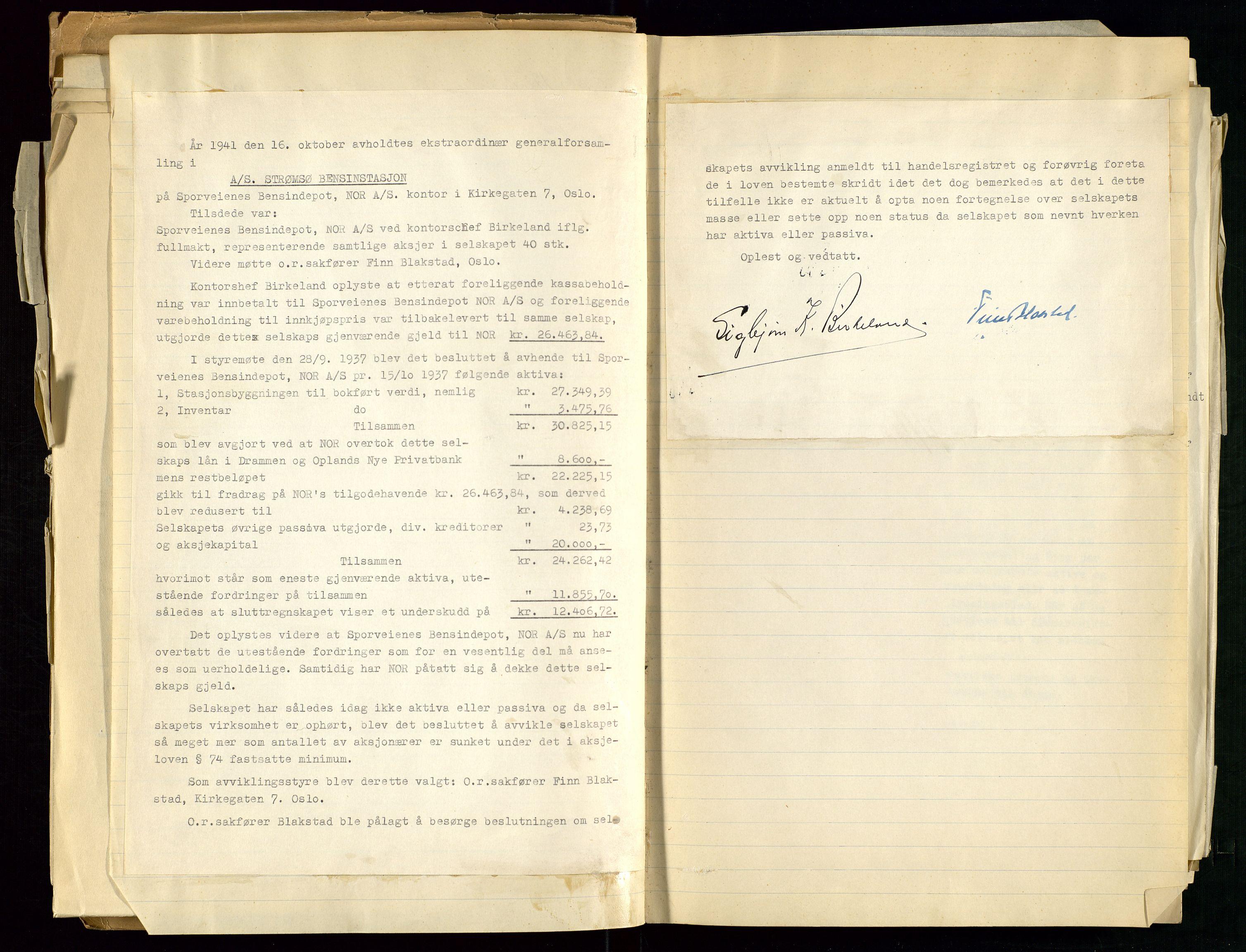 SAST, PA 1517 - A/S Strømsø Bensinstasjon, A/L0001: Referatprotokoll, 1933-1938, s. 47