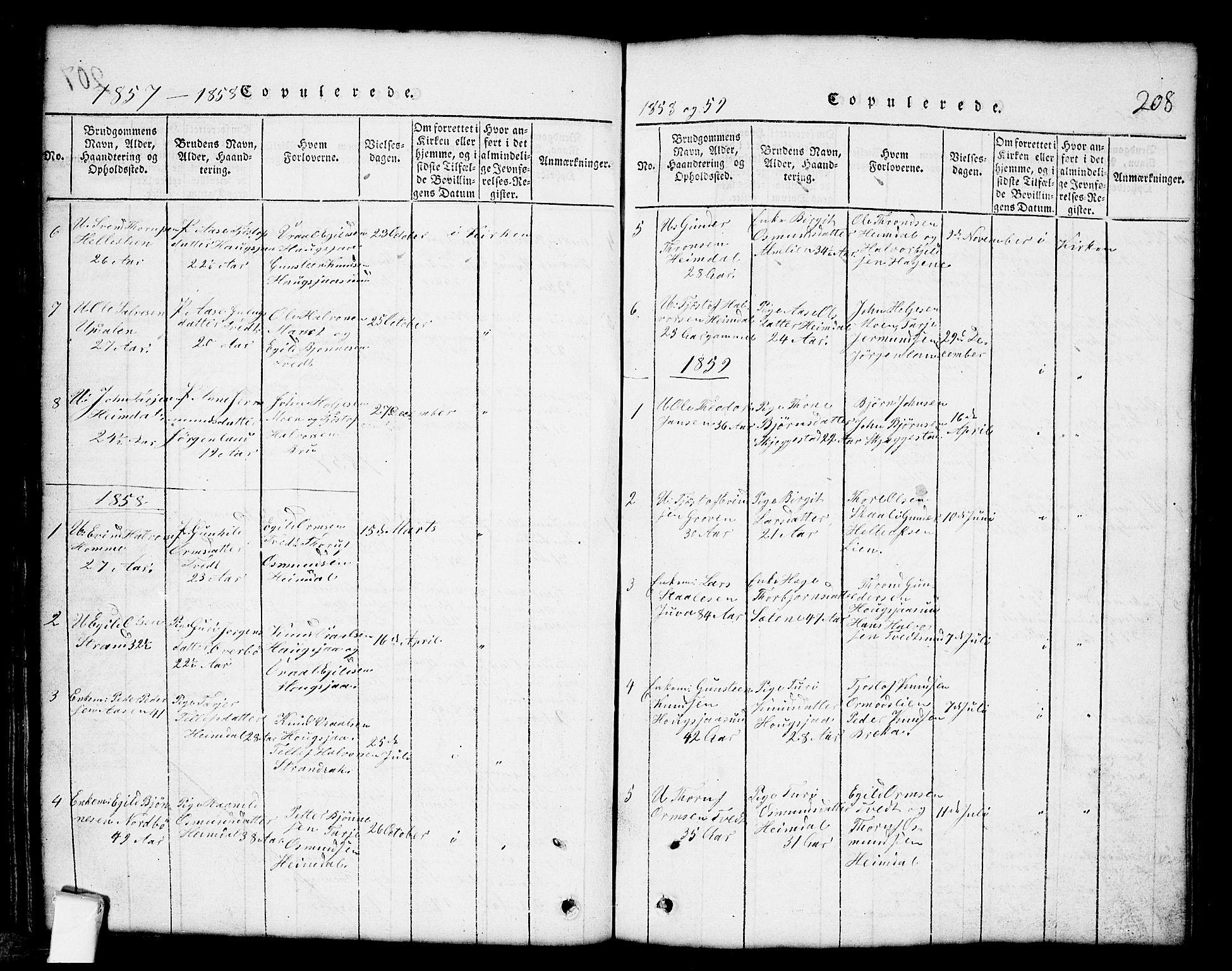 SAKO, Nissedal kirkebøker, G/Gb/L0001: Klokkerbok nr. II 1, 1814-1862, s. 208