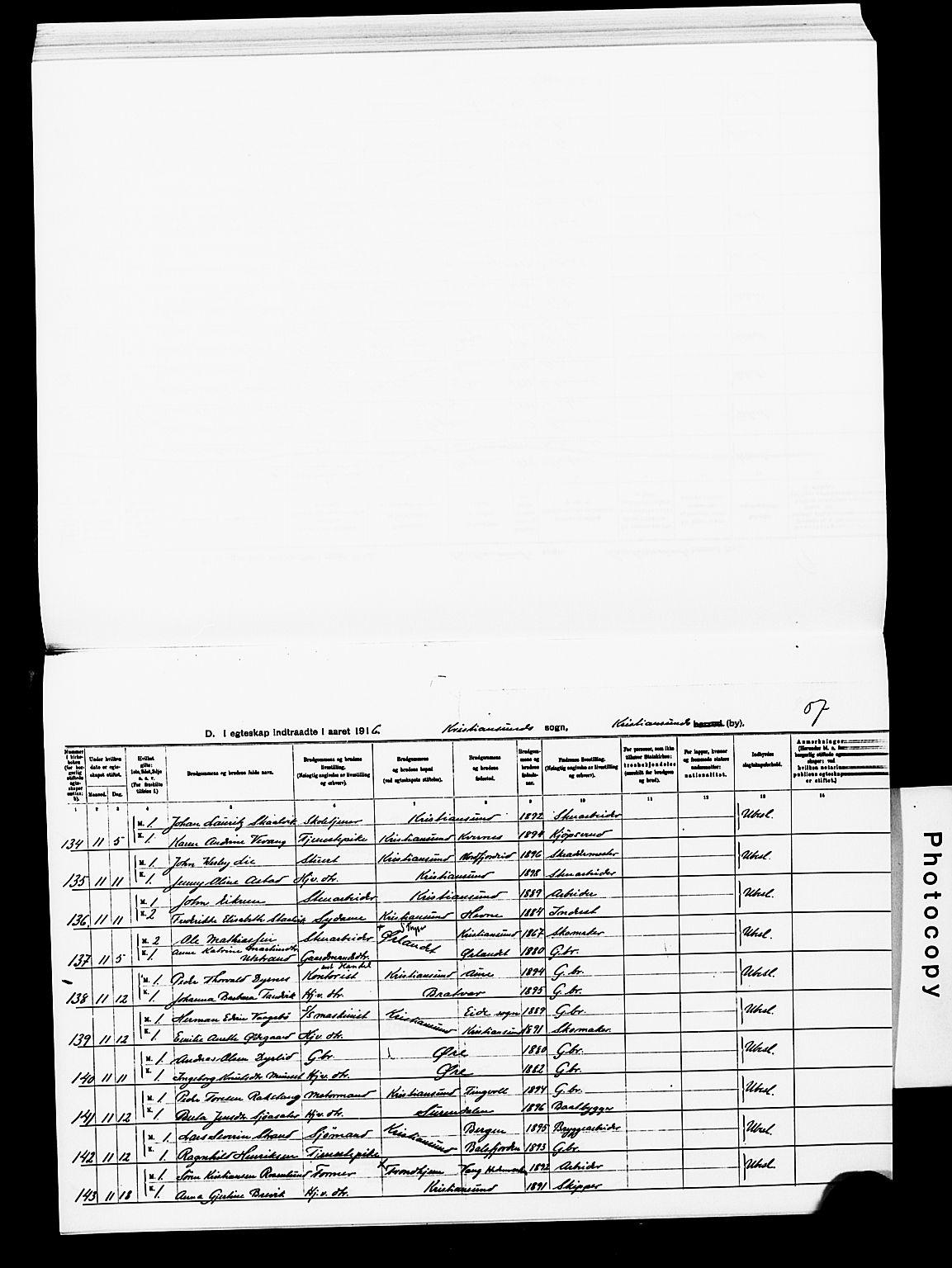 SAT, Ministerialprotokoller, klokkerbøker og fødselsregistre - Møre og Romsdal, 572/L0859: Ministerialbok nr. 572D03, 1903-1916