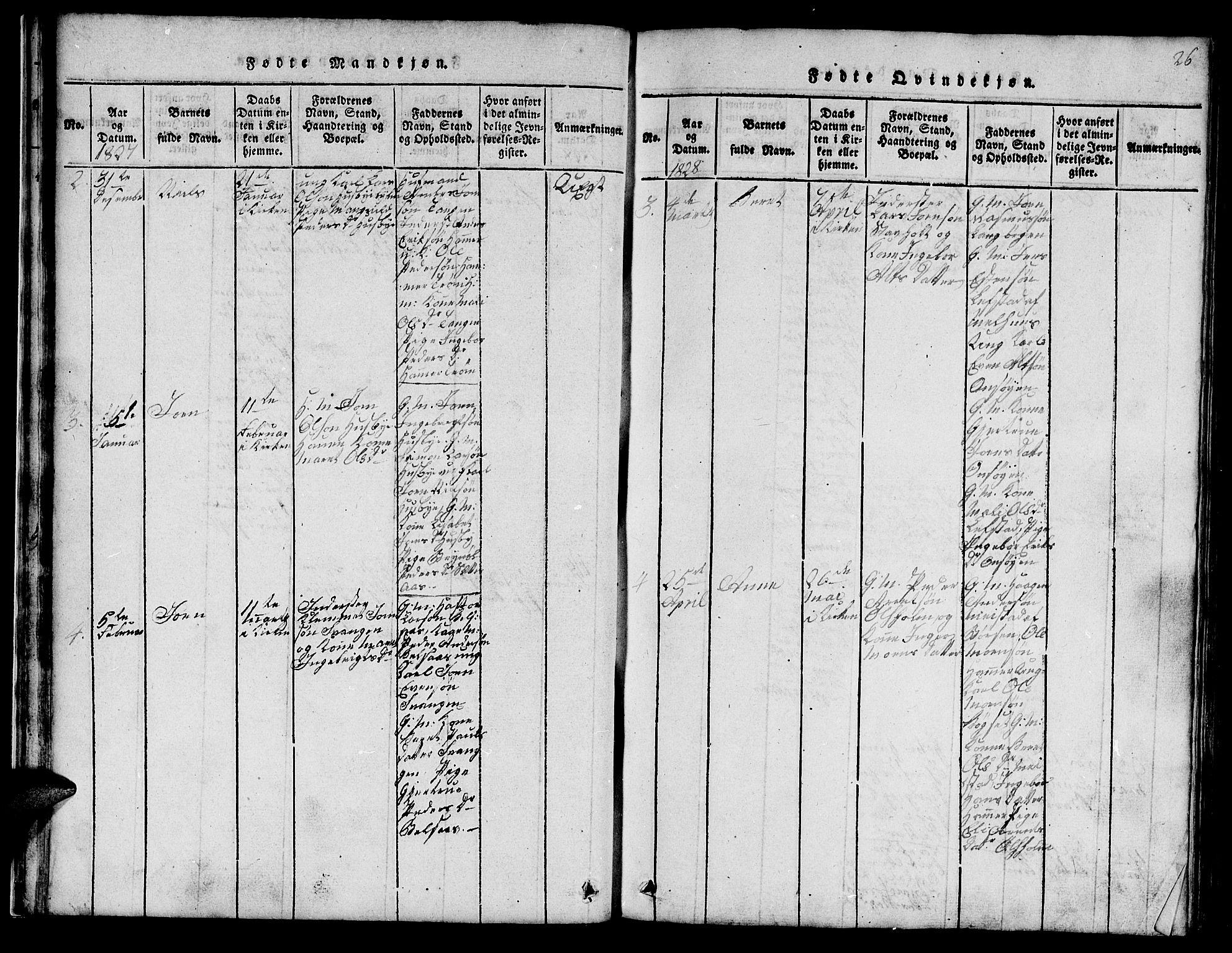 SAT, Ministerialprotokoller, klokkerbøker og fødselsregistre - Sør-Trøndelag, 666/L0788: Klokkerbok nr. 666C01, 1816-1847, s. 26