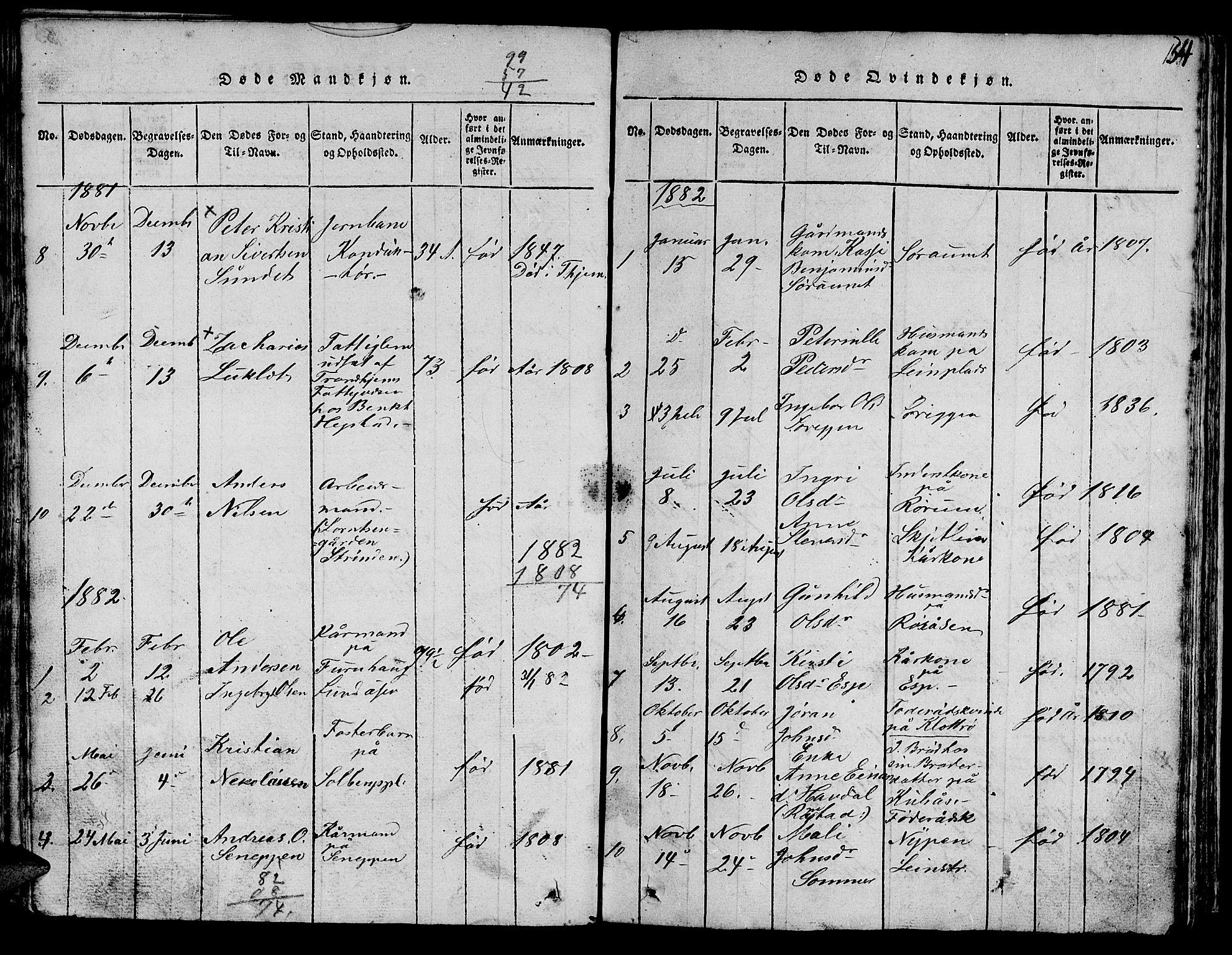 SAT, Ministerialprotokoller, klokkerbøker og fødselsregistre - Sør-Trøndelag, 613/L0393: Klokkerbok nr. 613C01, 1816-1886, s. 154