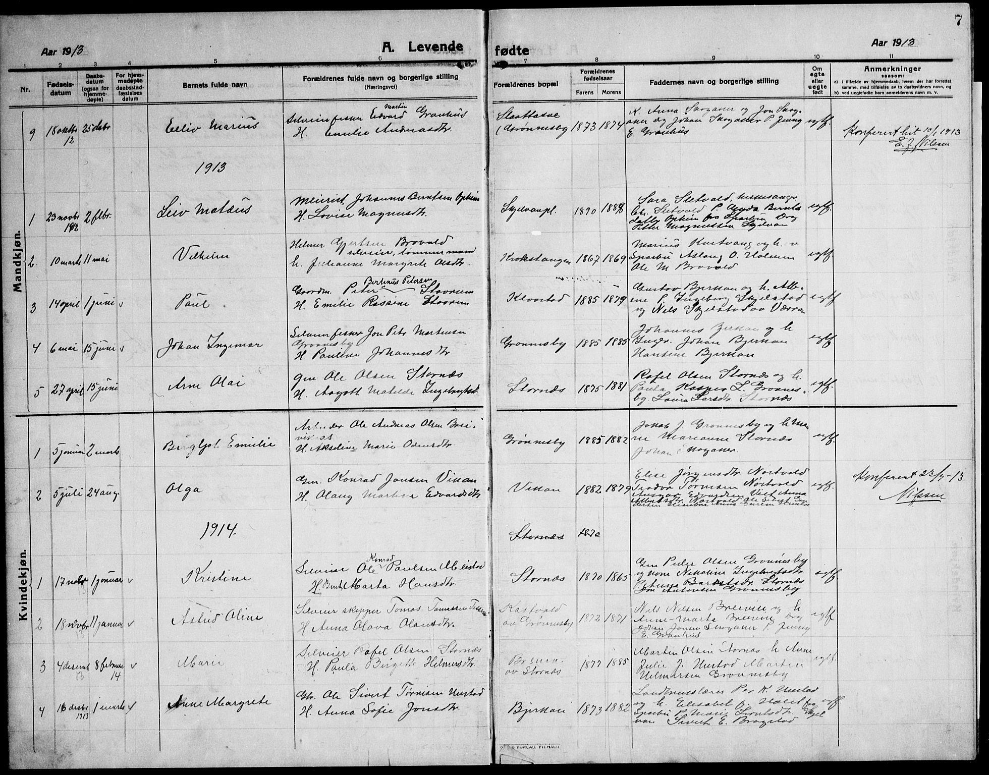 SAT, Ministerialprotokoller, klokkerbøker og fødselsregistre - Nord-Trøndelag, 732/L0319: Klokkerbok nr. 732C03, 1911-1945, s. 7